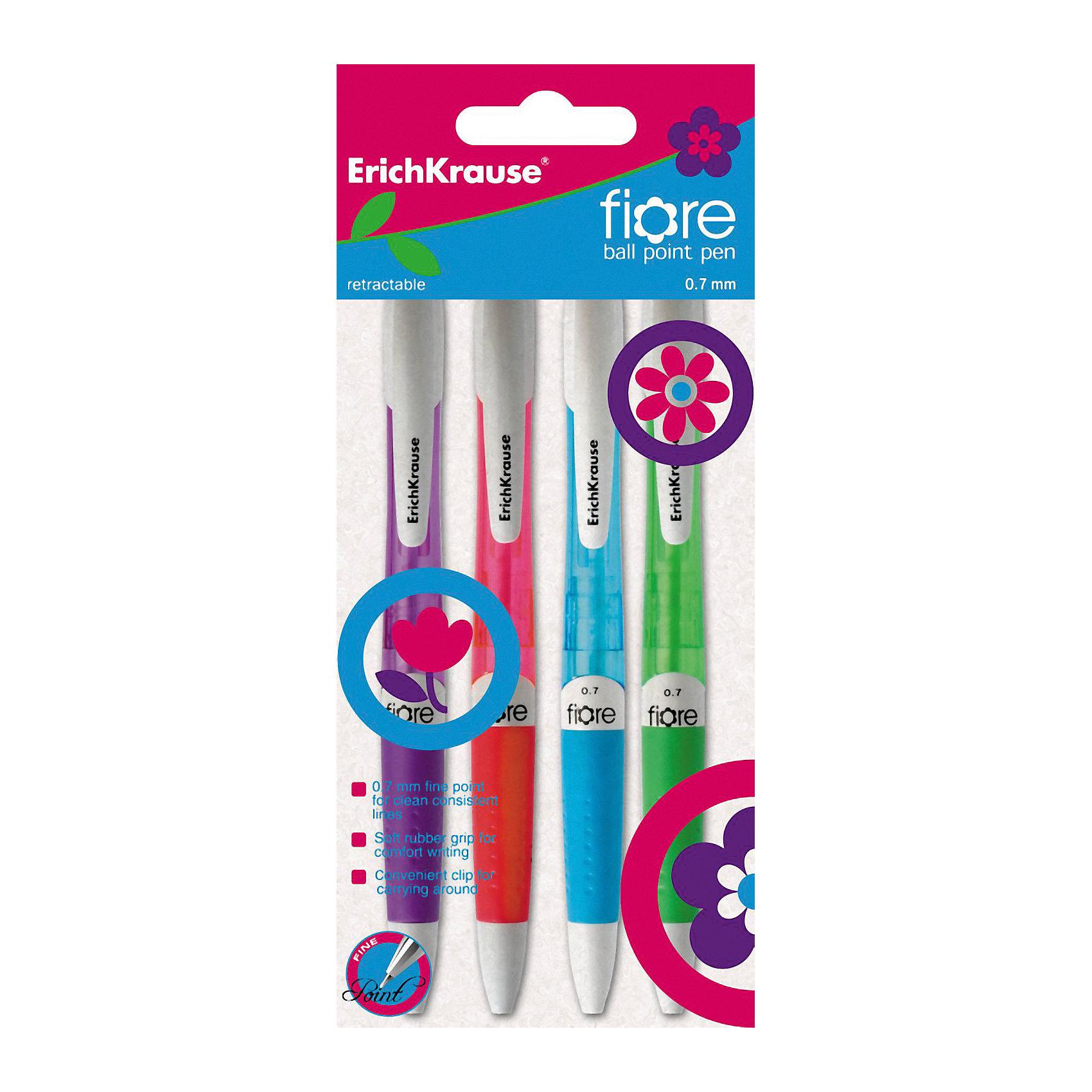 Erich Krause Ручка шариковые автоматическая  0,7 мм FIORE в наборе из 4 штук синие чернилаПисьменные принадлежности<br>Характеристики товара:<br><br>• в комплекте: 4 ручки;<br>• цвет чернил: синий;<br>• пишущий узел: 0,7 мм;<br>• толщина линии: 0,35 мм;<br>• материал: пластик, чернила, металл;<br>• размер упаковки: 7х20х1 см;<br>• вес: 42 грамма.<br><br>Набор шариковых ручек FIORE прекрасно подойдет для работы, учебы и письменных занятий. В комплект входят 4 ручки из полупрозрачного пластика, выполненного в ярких цветах. Каждая ручка имеет резиновую манжетку, препятствующую скольжению пальцев по ручке. Эргономичная форма изделий обеспечивает комфортное письмо. Пишущий узел толщиной 0,7 мм оставляет четкие и ровные линии насыщенного цвета.<br><br>Erich Krause (Эрих Краузе) Ручки шариковые автоматические 0,7 мм FIORE в наборе из 4 штук синие чернила можно купить в нашем интернет-магазине.<br><br>Ширина мм: 200<br>Глубина мм: 60<br>Высота мм: 15<br>Вес г: 42<br>Возраст от месяцев: 144<br>Возраст до месяцев: 2147483647<br>Пол: Унисекс<br>Возраст: Детский<br>SKU: 6878811