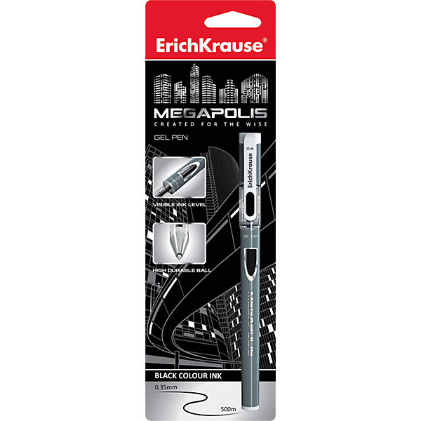 Erich Krause Ручка гелевая MEGAPOLIS GEL 0,5 мм (блистер, 1 шт.)  черные чернилаПисьменные принадлежности<br>Характеристики товара:<br><br>• пишущий узел: 0,5 мм;<br>• цвет чернил: черный;<br>• материал: пластик;<br>• размер упаковки: 1,5х6х20 см;<br>• вес: 24 грамма.<br><br>MEGAPOLIS GEL - удобная гелевая ручка от известного бренда Erich Krause. Ручка выполнена в приятном дизайне с серебристым цветом корпуса. Пишущий узел толщиной 0,5 мм не царапает бумагу и обеспечивает мягкое и комфортное письмо аккуратными линиями. Использование ручки не требует сильного нажатия. Цвет чернил - черный.<br><br>Erich Krause (Эрих Краузе) Ручку гелевую MEGAPOLIS GEL 0,5 мм (блистер, 1 шт.) черные чернила можно купить в нашем интернет-магазине.<br>Ширина мм: 200; Глубина мм: 60; Высота мм: 15; Вес г: 23; Возраст от месяцев: 144; Возраст до месяцев: 2147483647; Пол: Унисекс; Возраст: Детский; SKU: 6878813;