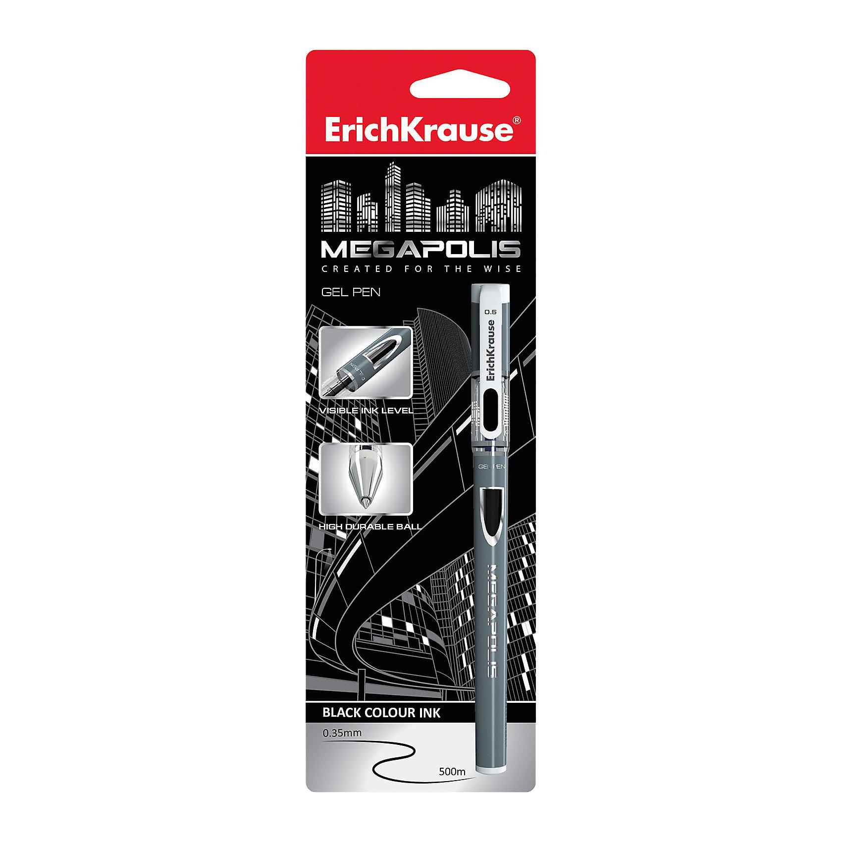 Erich Krause Ручка гелевая MEGAPOLIS GEL 0,5 мм (блистер, 1 шт.)  черные чернилаПисьменные принадлежности<br>Характеристики товара:<br><br>• пишущий узел: 0,5 мм;<br>• цвет чернил: черный;<br>• материал: пластик;<br>• размер упаковки: 1,5х6х20 см;<br>• вес: 24 грамма.<br><br>MEGAPOLIS GEL - удобная гелевая ручка от известного бренда Erich Krause. Ручка выполнена в приятном дизайне с серебристым цветом корпуса. Пишущий узел толщиной 0,5 мм не царапает бумагу и обеспечивает мягкое и комфортное письмо аккуратными линиями. Использование ручки не требует сильного нажатия. Цвет чернил - черный.<br><br>Erich Krause (Эрих Краузе) Ручку гелевую MEGAPOLIS GEL 0,5 мм (блистер, 1 шт.) черные чернила можно купить в нашем интернет-магазине.<br><br>Ширина мм: 200<br>Глубина мм: 60<br>Высота мм: 15<br>Вес г: 23<br>Возраст от месяцев: 144<br>Возраст до месяцев: 2147483647<br>Пол: Унисекс<br>Возраст: Детский<br>SKU: 6878813