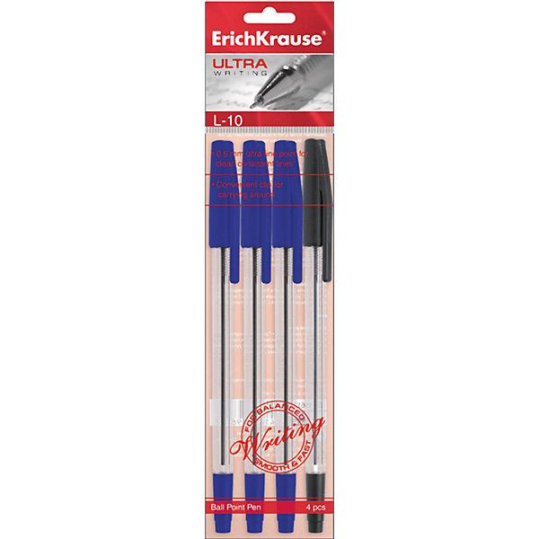 Erich Krause Ручка шариковая ULTRA L-10 в наборе из 4 штук (пакет, 2 синие,черная ,красная)Письменные принадлежности<br>Характеристики товара:<br><br>• в комплект: 4 ручки;<br>• цвет чернил: синий - 2 шт., черный, красный;<br>• материал: пластик;<br>• размер упаковки: 1,5х6х20 см;<br>• вес: 35 грамм.<br><br>Набор ULTRA L-10 состоит из четырех шариковых ручек на масляной основе. Ручки имеют эргономичный дизайн, удобно лежат в руке, обеспечивая комфортное письмо. Пишущий узел оставляет ровные и четкие линии. В набор входят 2 синие, красная и черная ручки.<br><br>Erich Krause (Эрих Краузе) Ручку шариковую ULTRA L-10 в наборе из 4 штук (пакет, 2 синие, черная ,красная)<br><br>Ширина мм: 200<br>Глубина мм: 60<br>Высота мм: 15<br>Вес г: 35<br>Возраст от месяцев: 144<br>Возраст до месяцев: 2147483647<br>Пол: Унисекс<br>Возраст: Детский<br>SKU: 6878815