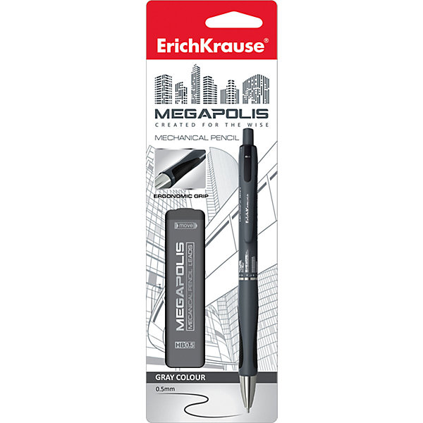 Erich Krause Карандаш механический MEGAPOLIS CONCEPT в наборе с 20 грифелями HB (в блистере), 0.5 ммМеханические<br>Характеристики товара:<br><br>• в комплекте: механический карандаш, 20 грифелей;<br>• твердость: HB;<br>• диаметр грифеля: 0,5 мм;<br>• материал: пластик, металл;<br>• размер упаковки: 1,5х6х20 см;<br>• вес: 31 грамм.<br><br>Механический карандаш MEGAPOLIS CONCEPT отличается практичностью и удобством в использовании. Карандаш не требует заточки, а использованные грифели легко заменяются новыми. Корпус карандаша дополнен резиновой вставкой, препятствующей скольжению пальцев во время рисования. Цанга карандаша убирается. В комплект входят 20 сменных грифелей.<br><br>Erich Krause (Эрих Краузе) Карандаш механический MEGAPOLIS CONCEPT в наборе с 20 грифелями HB (в блистере), 0.5 мм можно купить в нашем интернет-магазине.<br>Ширина мм: 200; Глубина мм: 60; Высота мм: 15; Вес г: 31; Возраст от месяцев: 144; Возраст до месяцев: 2147483647; Пол: Унисекс; Возраст: Детский; SKU: 6878817;