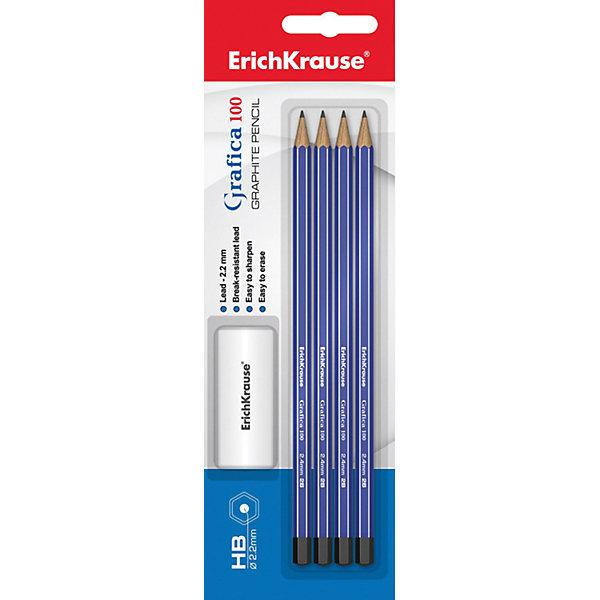 Erich Krause Чернографитный карандаш GRAFICA 100 (НВ) шестигранный, заточенный, в наборе из 3 штук + ластик (блистер)Чернографитные<br>Характеристики товара:<br><br>• в комплекте: 3 чернографитных карандаша, ластик;<br>• твердость: HB;<br>• размер упаковки: 1,5х6х20 см;<br>• вес: 56 грамм.<br><br>В набор от Erich Krause входят 3 чернографитных карандаша твердостью HB и прямоугольный ластик. Карандаши имеют прочный шестигранный корпус, заточены. Не царапают бумагу и не требуют сильного нажатия. Начерченные линии легко стираются ластиком.<br><br>Erich Krause (Эрих Краузе) Чернографитный карандаш GRAFICA 100 (НВ) шестигранный, заточенный, в наборе из 3 штук + ластик (блистер) можно купить в нашем интернет-магазине.<br><br>Ширина мм: 200<br>Глубина мм: 60<br>Высота мм: 15<br>Вес г: 55<br>Возраст от месяцев: 144<br>Возраст до месяцев: 2147483647<br>Пол: Унисекс<br>Возраст: Детский<br>SKU: 6878838