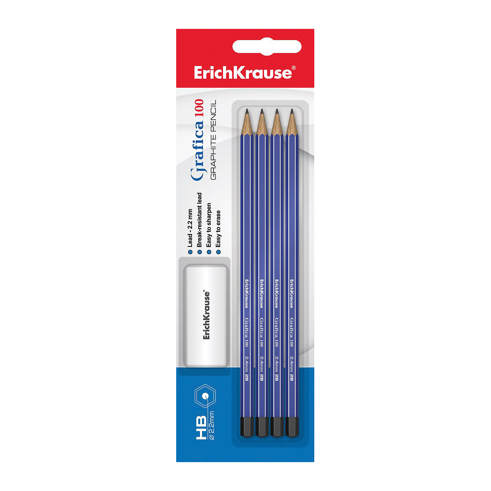 Erich Krause Чернографитный карандаш GRAFICA 100 (НВ) шестигранный, заточенный, в наборе из 3 штук + ластик (блистер)Письменные принадлежности<br>Характеристики товара:<br><br>• в комплекте: 3 чернографитных карандаша, ластик;<br>• твердость: HB;<br>• размер упаковки: 1,5х6х20 см;<br>• вес: 56 грамм.<br><br>В набор от Erich Krause входят 3 чернографитных карандаша твердостью HB и прямоугольный ластик. Карандаши имеют прочный шестигранный корпус, заточены. Не царапают бумагу и не требуют сильного нажатия. Начерченные линии легко стираются ластиком.<br><br>Erich Krause (Эрих Краузе) Чернографитный карандаш GRAFICA 100 (НВ) шестигранный, заточенный, в наборе из 3 штук + ластик (блистер) можно купить в нашем интернет-магазине.<br><br>Ширина мм: 200<br>Глубина мм: 60<br>Высота мм: 15<br>Вес г: 55<br>Возраст от месяцев: 144<br>Возраст до месяцев: 2147483647<br>Пол: Унисекс<br>Возраст: Детский<br>SKU: 6878838