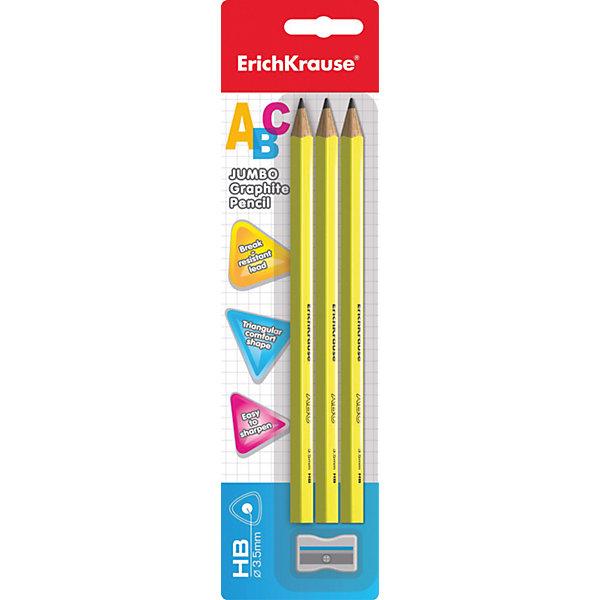 Erich Krause Чернографитный карандаш JUMBO ABC (НВ) трехгранный, заточенный, в наборе из 3 штук + точилка JUMBO (блистер)Чернографитные<br>Характеристики товара:<br><br>• в комплекте: 3 чернографитных карандаша, точилка;<br>• твердость: HB;<br>• размер упаковки: 1,5х6х20 см;<br>• вес: 46 грамм.<br><br>В набор Erich Krause входят три чернографитных карандаша JUMBO ABC и точилка JUMBO. Карандаши имеют прочный трехгранный корпус из дерева. Карандаши легко пишут, быстро затачиваются и не крошатся во время написания. Точилка поможет быстро и качественно заточить карандаши.<br><br>Erich Krause (Эрих Краузе) Чернографитный карандаш JUMBO ABC (НВ) трехгранный, заточенный, в наборе из 3 штук + точилка JUMBO (блистер) можно купить в нашем интернет-магазине.<br><br>Ширина мм: 200<br>Глубина мм: 60<br>Высота мм: 15<br>Вес г: 46<br>Возраст от месяцев: 144<br>Возраст до месяцев: 2147483647<br>Пол: Унисекс<br>Возраст: Детский<br>SKU: 6878840