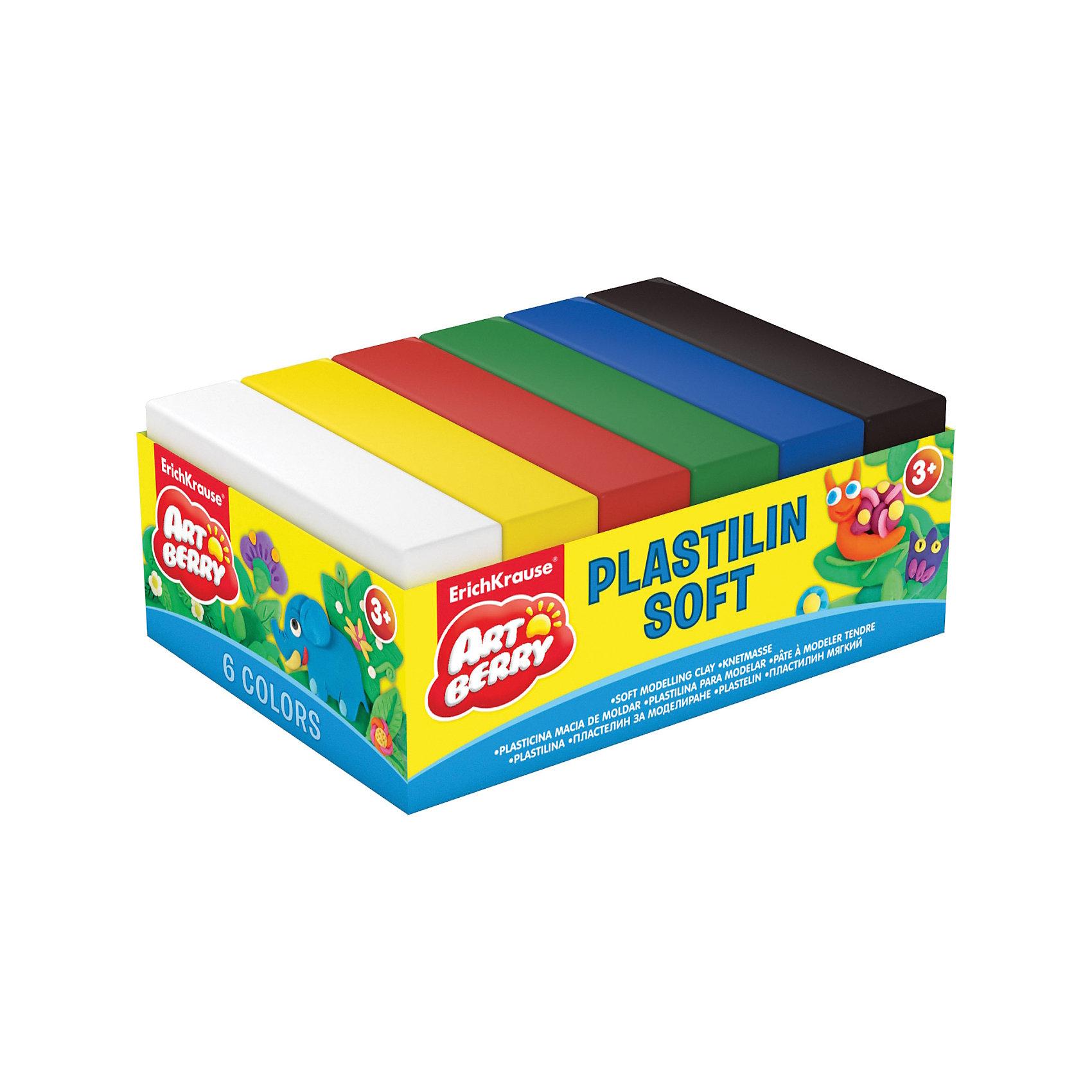 Erich Krause Пластилин мягкий Artberry 6 цветов 300г, картонный поддонРисование и лепка<br>Характеристики товара:<br><br>• в комплекте: 6 брусочков пластилина;<br>• цвета: белый, желтый, красный, зеленый, синий, черный;<br>• размер брусочка: 7х3,7х1,5 см;<br>• вес брусочка: 50 грамм;<br>• размер упаковки: 1,5х6х12 см;<br>• вес: 320 грамм;<br>• возраст: от 3 лет.<br><br>Пластилин ArtBerry изготовлен из натуральных компонентов, поэтому использовать его могут и самые маленькие скульпторы. В набор входят  шесть брусочков пластилина ярких цветов. <br><br>Цвета подходят для смешивании и создания новых оттенков. Брусочки пластилина отличаются хорошей пластичностью, не липнут к рукам и столу, быстро обретают желаемую форму.<br><br>Erich Krause (Эрих Краузе) Пластилин мягкий ArtBerry 6 цветов 300г, картонный поддон можно купить в нашем интернет-магазине.<br><br>Ширина мм: 120<br>Глубина мм: 60<br>Высота мм: 15<br>Вес г: 320<br>Возраст от месяцев: 36<br>Возраст до месяцев: 72<br>Пол: Унисекс<br>Возраст: Детский<br>SKU: 6878842