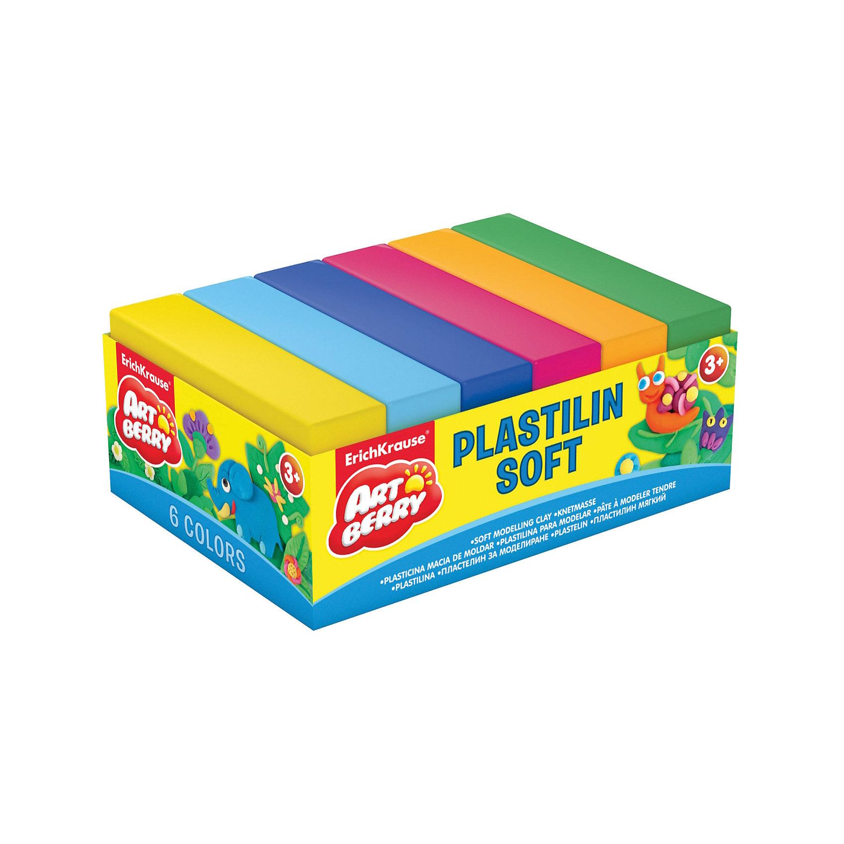 Erich Krause Пластилин мягкий Artberry 6 цветов 300г, картонный поддонРисование и лепка<br>Характеристики товара:<br><br>• в комплекте: 6 брусочков пластилина;<br>• размер брусочка: 7х3,7х1,5 см;<br>• вес брусочка: 50 грамм;<br>• размер упаковки: 1,5х6х12 см;<br>• вес: 320 грамм;<br>• возраст: от 3 лет.<br><br>Пластилин ArtBerry изготовлен из натуральных компонентов, поэтому использовать его могут и самые маленькие скульпторы. В набор входят  шесть брусочков пластилина ярких неоновых цветов. <br><br>Цвета подходят для смешивании и создания новых оттенков. Брусочки пластилина отличаются хорошей пластичностью, не липнут к рукам и столу, быстро обретают желаемую форму.<br><br>Erich Krause (Эрих Краузе) Пластилин мягкий ArtBerry 6 цветов 300г, картонный поддон можно купить в нашем интернет-магазине.<br><br>Ширина мм: 120<br>Глубина мм: 60<br>Высота мм: 15<br>Вес г: 320<br>Возраст от месяцев: 36<br>Возраст до месяцев: 72<br>Пол: Унисекс<br>Возраст: Детский<br>SKU: 6878843