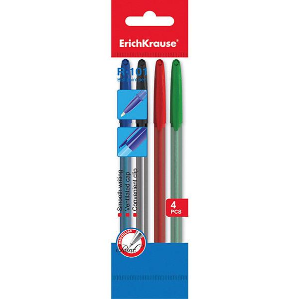 Erich Krause Ручка шариковая R-101 в наборе из 4 штук (пакет, 2 синие,красная,зеленая)Письменные принадлежности<br>Характеристики товара:<br><br>• в комплекте: 4 шариковые ручки;<br>• цвет чернил: синий, красный, зеленый;<br>• диаметр стержня: 1 мм;<br>• материал: пластик;<br>• размер упаковки: 1,5х6х20 см;<br>• вес: 24 грамма.<br><br>Набор шариковых ручек Erich Krause предназначен для написания текста и выделения его фрагментов. В набор входят четыре ручки, имеющие прочный пластиковый корпус, устойчивый к механическим повреждениям. На колпачке есть вентиляционные отверстия и зажим для крепления на кармане. Ручка приятно лежит в руке, а качественные чернила обеспечивают комфортное письмо.<br><br>Erich Krause (Эрих Краузе) Ручку шариковую R-101 в наборе из 4 штук (пакет, 2 синие,красная,зеленая) можно купить в нашем интернет-магазине.<br><br>Ширина мм: 200<br>Глубина мм: 60<br>Высота мм: 15<br>Вес г: 24<br>Возраст от месяцев: 84<br>Возраст до месяцев: 2147483647<br>Пол: Унисекс<br>Возраст: Детский<br>SKU: 6878844