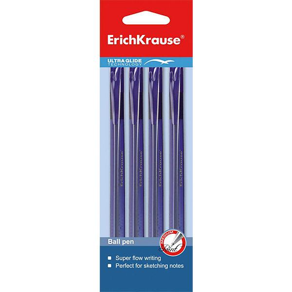 Erich Krause Ручка шариковая автоматическая Ultra Glide Technology U-28 в наборе из 4 штук синие чернилаПисьменные принадлежности<br>Характеристики товара:<br><br>• в комплекте: 4 автоматические шариковые ручки;<br>• цвет чернил: синий;<br>• пишущий узел: 1 мм;<br>• материал: пластик;<br>• размер упаковки: 1,5х6х20 см;<br>• вес: 38 грамм.<br><br>Набор состоит из четырех автоматических шариковых ручек Ultra Glide Technology U-28. Ручки имеют прочный трехгранный корпус из тонированного пластика. На корпусе есть насечки, обеспечивающие удобный захват. Благодаря специальной технологии Ultra Glide даже ребенку не придется прикладывать усилия для написания линий. Цвет чернил - синий.<br><br>Erich Krause (Эрих Краузе) Ручку шариковую автоматическую Ultra Glide Technology U-28 в наборе из 4 штук синие чернила можно купить в нашем интернет-магазине.<br><br>Ширина мм: 200<br>Глубина мм: 60<br>Высота мм: 15<br>Вес г: 37<br>Возраст от месяцев: 84<br>Возраст до месяцев: 2147483647<br>Пол: Унисекс<br>Возраст: Детский<br>SKU: 6878845