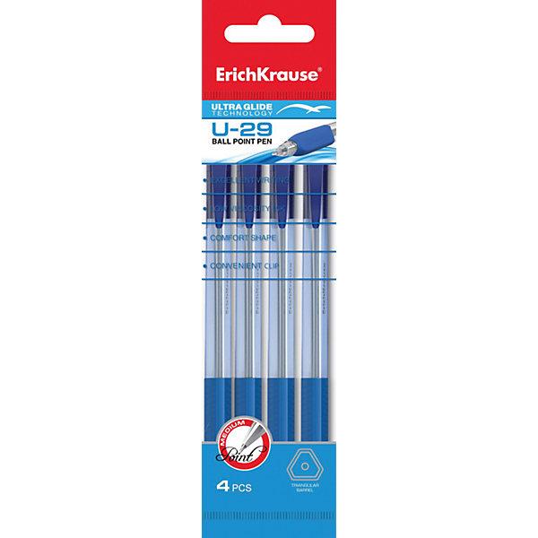 Erich Krause Ручка шариковая автоматическая Ultra Glide Technology U-29 в наборе из 4 штук синие чернилаПисьменные принадлежности<br>Характеристики товара:<br><br>• в комплекте: 4 автоматические шариковые ручки;<br>• цвет чернил: синий;<br>• толщина линии: 0,6 мм;;<br>• материал: пластик;<br>• размер упаковки: 1,5х6х20 см;<br>• вес: 38 грамм.<br><br>Набор состоит из четырех шариковых ручек с автоматическим выдвижением стержня. Эргономичный дизайн корпуса обеспечивает комфортное письмо. Чернила мягко ложатся на поверхность бумаги и быстро высыхают. Верхняя часть ручки оснащена зажимом, с помощью которого можно закрепить ручку в кармане или сумке. Цвет чернил - синий.<br><br>Erich Krause (Эрих Краузе) Ручку шариковую автоматическую Ultra Glide Technology U-29 в наборе из 4 штук синие чернила можно купить в нашем интернет-магазине.<br>Ширина мм: 200; Глубина мм: 60; Высота мм: 15; Вес г: 38; Возраст от месяцев: 84; Возраст до месяцев: 2147483647; Пол: Унисекс; Возраст: Детский; SKU: 6878846;