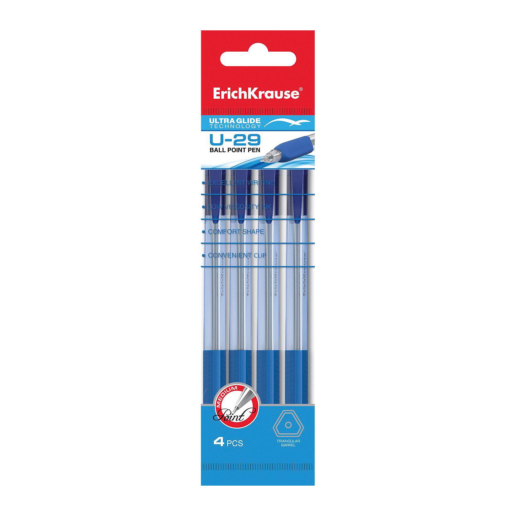 Erich Krause Ручка шариковая автоматическая Ultra Glide Technology U-29 в наборе из 4 штук синие чернилаПисьменные принадлежности<br>Характеристики товара:<br><br>• в комплекте: 4 автоматические шариковые ручки;<br>• цвет чернил: синий;<br>• толщина линии: 0,6 мм;;<br>• материал: пластик;<br>• размер упаковки: 1,5х6х20 см;<br>• вес: 38 грамм.<br><br>Набор состоит из четырех шариковых ручек с автоматическим выдвижением стержня. Эргономичный дизайн корпуса обеспечивает комфортное письмо. Чернила мягко ложатся на поверхность бумаги и быстро высыхают. Верхняя часть ручки оснащена зажимом, с помощью которого можно закрепить ручку в кармане или сумке. Цвет чернил - синий.<br><br>Erich Krause (Эрих Краузе) Ручку шариковую автоматическую Ultra Glide Technology U-29 в наборе из 4 штук синие чернила можно купить в нашем интернет-магазине.<br><br>Ширина мм: 200<br>Глубина мм: 60<br>Высота мм: 15<br>Вес г: 38<br>Возраст от месяцев: 84<br>Возраст до месяцев: 2147483647<br>Пол: Унисекс<br>Возраст: Детский<br>SKU: 6878846