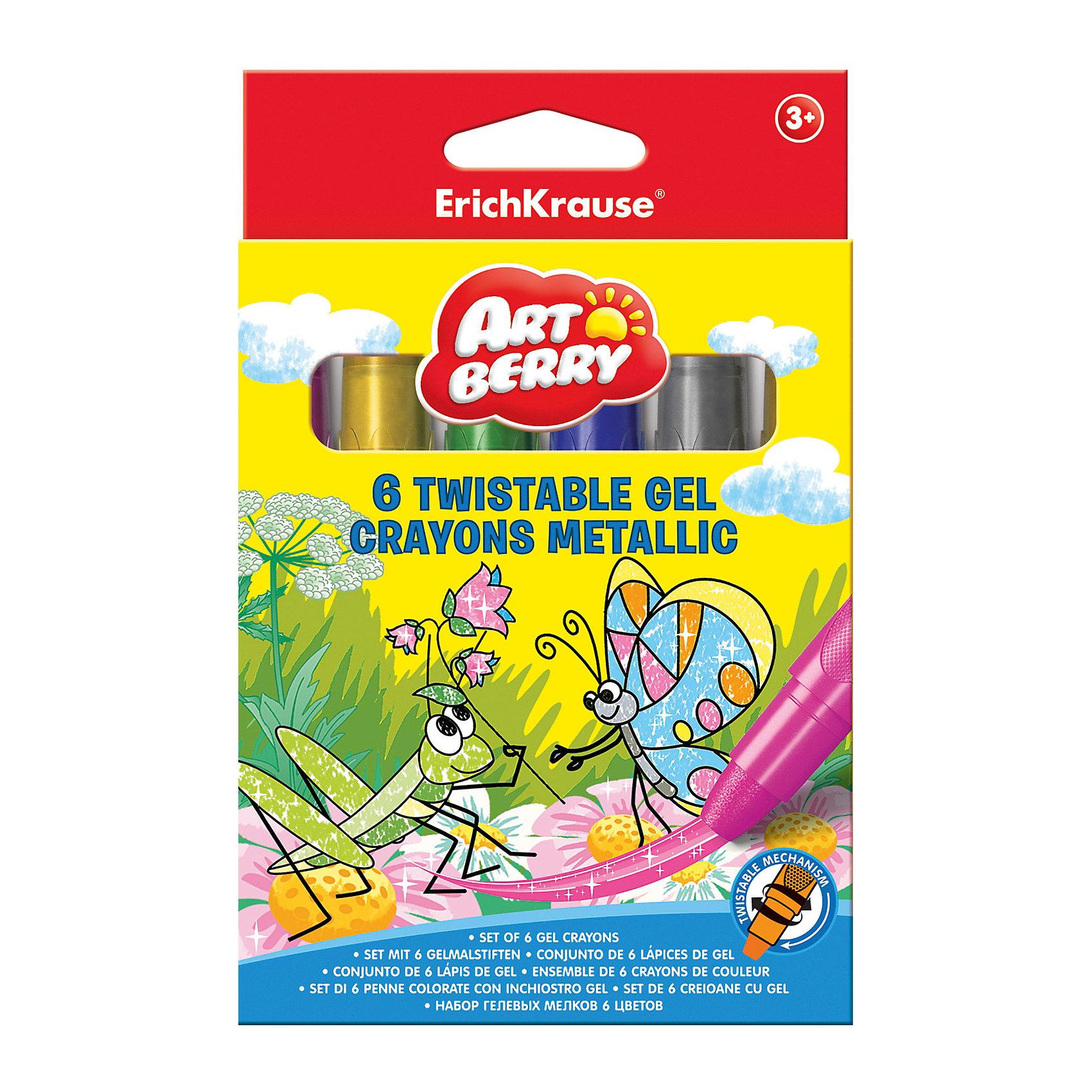 Erich Krause Гелевые мелки ArtBerry Twistable Metallic 6 цветовМасляные и восковые мелки<br>Характеристики товара:<br><br>• в комплекте: 6 гелевых мелков;<br>• поворотный механизм;<br>• размер упаковки: 2х10х12 см;<br>• вес: 148 грамм;<br>• возраст: от 3 лет.<br><br>Гелевые мелки ArtBerry Twistable - прекрасный вариант для детского творчества. В набор входят шесть гелевых мелков, изготовленных на водной основе. Цвета мелков хорошо смешиваются и размываются кистью. Мелки имеют поворотный механизм, благодаря чему их не нужно затачивать. Мягко пишут и сохраняют насыщенность цвета даже на солнце.<br><br>Erich Krause (Эрих Краузе) Гелевые мелки ArtBerry Twistable Metallic 6 цветов можно купить в нашем интернет-магазине.<br><br>Ширина мм: 120<br>Глубина мм: 100<br>Высота мм: 20<br>Вес г: 147<br>Возраст от месяцев: 36<br>Возраст до месяцев: 72<br>Пол: Унисекс<br>Возраст: Детский<br>SKU: 6878849