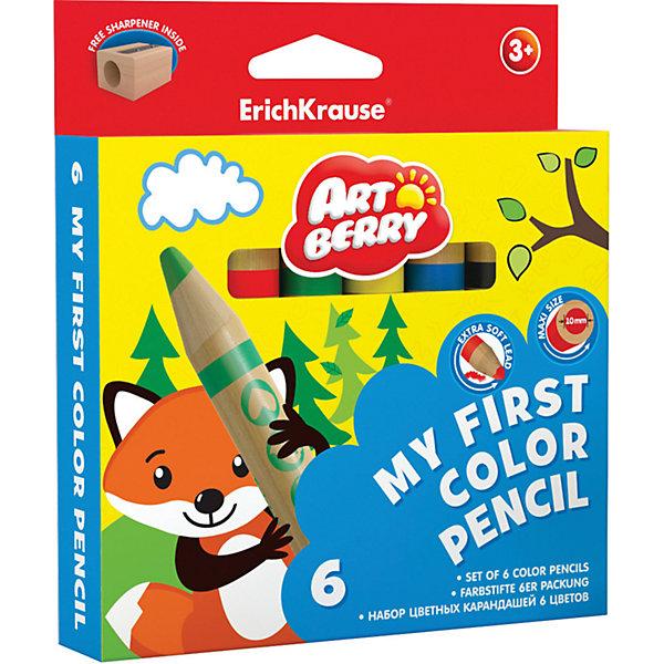 Erich Krause Цветные карандаши ArtBerry My First 6 цветов + точилкаКарандаши для творчества<br>Характеристики товара:<br><br>• в комплекте: 6 карандашей (6 цветов), точилка;<br>• материал: дерево;<br>• размер упаковки: 1,5х7х21 см;<br>• вес: 132 грамма;<br>• возраст: от 3 лет.<br><br>Набор карандашей ArtBerry My Firs прекрасно подойдет для самых маленьких художников. В комплект входят 6 утолщенных карандашей и точилка. Карандаши удобно лежат в ручках малыша. Корпус хорошо выдерживает сильный нажим и падения. Стержень мягко рисует, нанося равномерные, ровные штрихи. С помощью точилки ребенок сможет заточить свои карандаши без лишних усилий.<br><br>Erich Krause (Эрих Краузе) Цветные карандаши ArtBerry My First 6 цветов + точилка можно купить в нашем интернет-магазине.<br>Ширина мм: 210; Глубина мм: 70; Высота мм: 15; Вес г: 131; Возраст от месяцев: 84; Возраст до месяцев: 216; Пол: Унисекс; Возраст: Детский; SKU: 6878862;