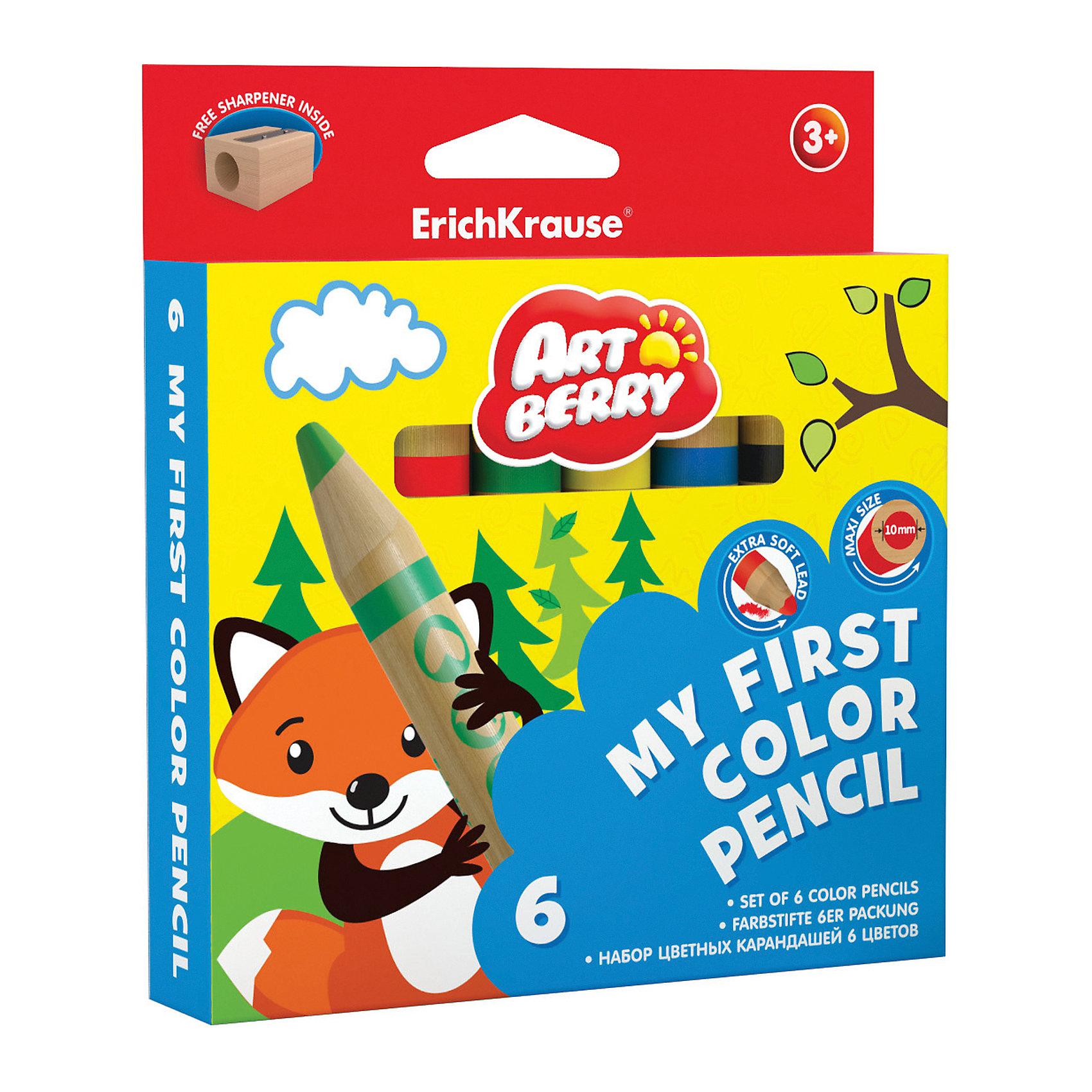 Erich Krause Цветные карандаши ArtBerry My First 6 цветов + точилкаКарандаши для творчества<br>Характеристики товара:<br><br>• в комплекте: 6 карандашей (6 цветов), точилка;<br>• материал: дерево;<br>• размер упаковки: 1,5х7х21 см;<br>• вес: 132 грамма;<br>• возраст: от 3 лет.<br><br>Набор карандашей ArtBerry My Firs прекрасно подойдет для самых маленьких художников. В комплект входят 6 утолщенных карандашей и точилка. Карандаши удобно лежат в ручках малыша. Корпус хорошо выдерживает сильный нажим и падения. Стержень мягко рисует, нанося равномерные, ровные штрихи. С помощью точилки ребенок сможет заточить свои карандаши без лишних усилий.<br><br>Erich Krause (Эрих Краузе) Цветные карандаши ArtBerry My First 6 цветов + точилка можно купить в нашем интернет-магазине.<br><br>Ширина мм: 210<br>Глубина мм: 70<br>Высота мм: 15<br>Вес г: 131<br>Возраст от месяцев: 84<br>Возраст до месяцев: 216<br>Пол: Унисекс<br>Возраст: Детский<br>SKU: 6878862