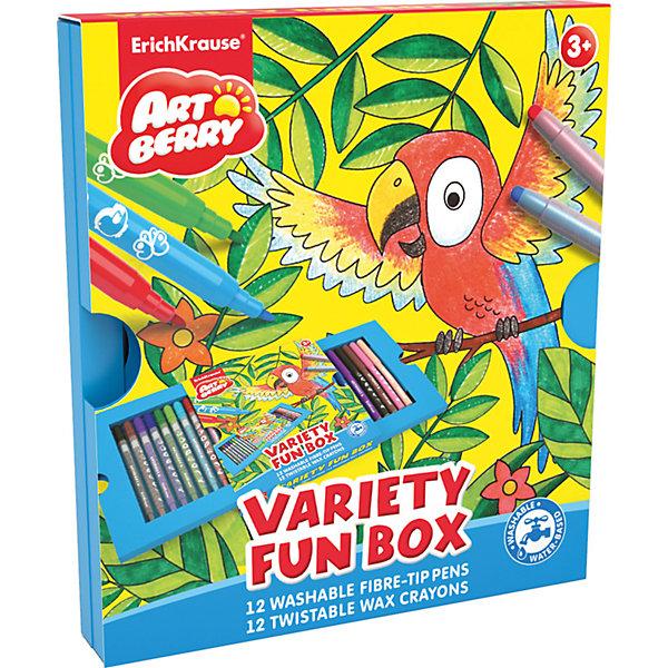 Erich Krause Набор для творчества Variety Fun box Artberry (12 фломастеров + 12 восковых мелков Twist)Наборы для раскрашивания<br>Характеристики товара:<br><br>• в комплекте: 12 фломастеров, 12 восковых мелков;<br>• размер упаковки: 1,5х18х21 см;<br>• вес: 325 грамм;<br>• возраст: от 3 лет.<br><br>Набор Variety Fun box ArtBerry содержит самые необходимые предметы для маленького художника: 12 фломастеров и 12 восковых мелков. Мелки находятся в пластиковом корпусе с выдвижным механизмом. Они мягко рисуют, не требуют заточки и не пачкают руки.<br><br>Фломастеры изготовлены на водной основе. Если ребенок случайно испачкает руки, след от фломастеров легко смывается водой. Мелки и фломастеры Erich Krause отличаются яркими оттенками и насыщенностью цвета.<br><br>Erich Krause (Эрих Краузе) Набор для творчества Variety Fun box ArtBerry (12 фломастеров + 12 восковых мелков Twist) можно купить в нашем интернет-магазине.<br><br>Ширина мм: 210<br>Глубина мм: 70<br>Высота мм: 15<br>Вес г: 325<br>Возраст от месяцев: 36<br>Возраст до месяцев: 72<br>Пол: Унисекс<br>Возраст: Детский<br>SKU: 6878863