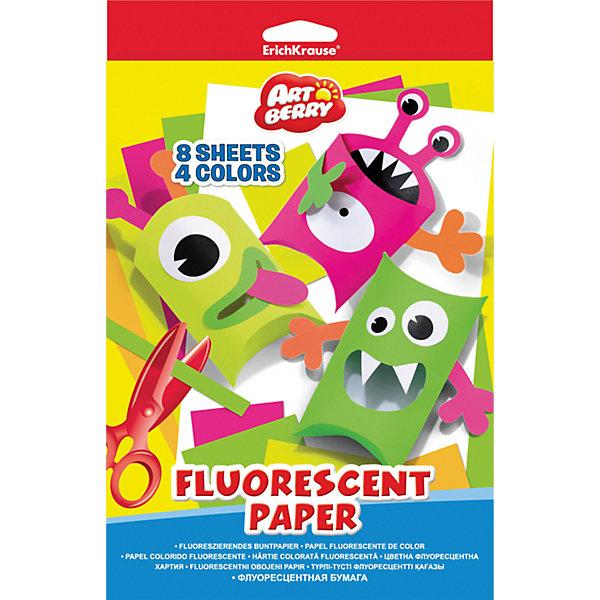 Erich Krause Флуоресцентная бумага ArtBerry В5 8 листов 4 цветаБумажная продукция<br>Характеристики товара:<br><br>• в комплекте: 8 листов (4 цвета);<br>• формат: В5;<br>• цвета: желтый, зеленый, оранжевый, розовый;<br>• размер: 1,5х17,6х25 см;<br>• вес: 57 грамм;<br>• возраст: от 3 лет.<br><br>В набор ArtBerry входят по два листа бумаги, выполненных в четырех насыщенные флуоресцентных цветах: зеленый, оранжевый, розовый и желтый. С такой яркой бумагой оригинальные аппликации и поделки гарантированы. Формат бумаги - В5.<br><br>Erich Krause (Эрих Краузе) Флуоресцентную бумагу ArtBerry В5 8 листов 4 цвета можно купить в нашем интернет-магазине.<br><br>Ширина мм: 250<br>Глубина мм: 176<br>Высота мм: 15<br>Вес г: 56<br>Возраст от месяцев: 60<br>Возраст до месяцев: 216<br>Пол: Унисекс<br>Возраст: Детский<br>SKU: 6878867