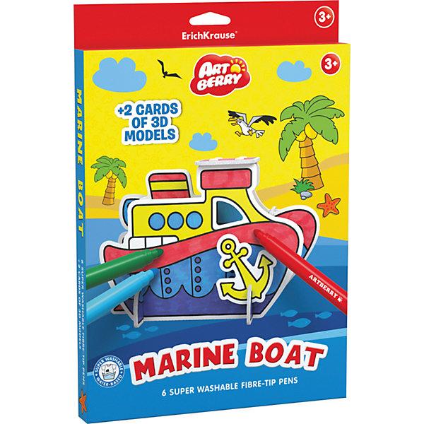Erich Krause Игровой 3D пазл для раскрашивания Artberry Marine Boat (6 фломастеров+2 карты с фигурами для сборки)Наборы для раскрашивания<br>Характеристики товара:<br><br>• в комплекте: 6 фломастеров, 2 карты с пазлами;<br>• цвета: синий, красный, желтый, зеленый, оранжевый, фиолетовый;<br>• материал: пластик, картон;<br>• размер упаковки: 2х21х31 см;<br>• вес: 243 грамма;<br>• возраст: от 3 лет.<br><br>ArtBerry Marine Boat - уникальный набор для детского творчества. В комплект входят шесть фломастеров и две карточки с деталями пазла. Ребенок соберет 3D фигурку морского катера, а затем раскрасит ее по своему усмотрению. Набор способствует развитию фантазии, воображения, мелкой моторики, усидчивости.<br><br>Erich Krause (Эрих Краузе) Игровой 3D пазл для раскрашивания ArtBerry Marine Boat (6 фломастеров+2 карты с фигурами для сборки) можно купить в нашем интернет-магазине.<br><br>Ширина мм: 310<br>Глубина мм: 210<br>Высота мм: 20<br>Вес г: 242<br>Возраст от месяцев: 36<br>Возраст до месяцев: 72<br>Пол: Унисекс<br>Возраст: Детский<br>SKU: 6878870