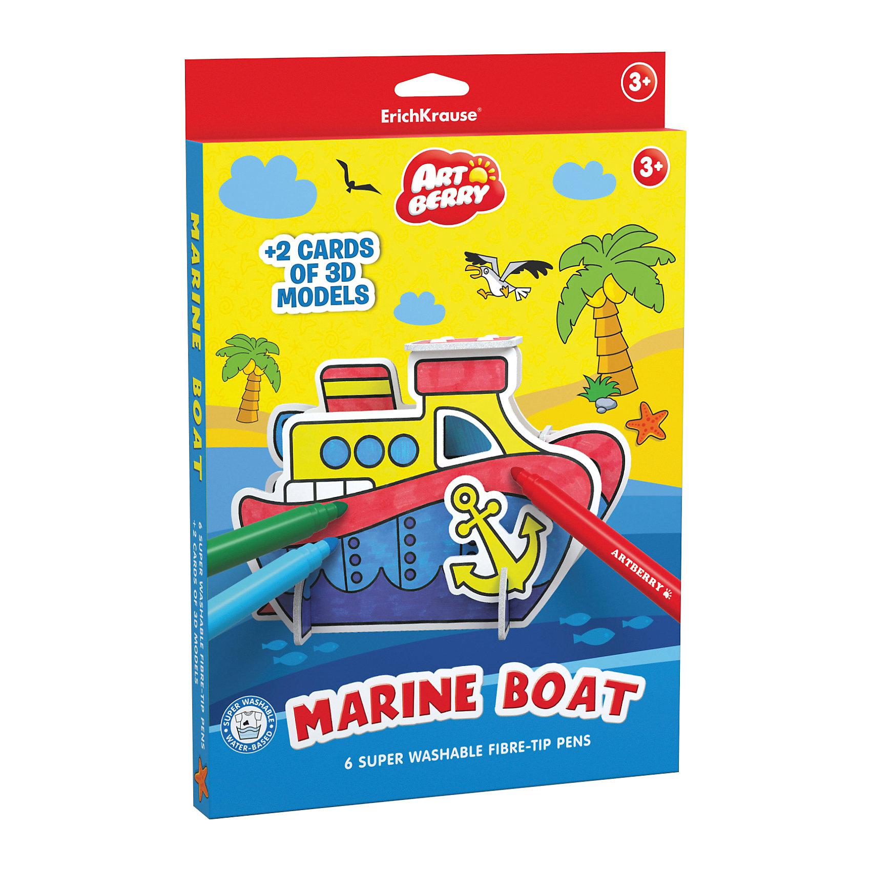 Erich Krause Игровой 3D пазл для раскрашивания Artberry Marine Boat (6 фломастеров+2 карты с фигурами для сборки)Рисование<br><br><br>Ширина мм: 310<br>Глубина мм: 210<br>Высота мм: 20<br>Вес г: 242<br>Возраст от месяцев: 36<br>Возраст до месяцев: 72<br>Пол: Унисекс<br>Возраст: Детский<br>SKU: 6878870