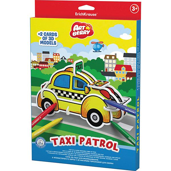 Erich Krause Игровой 3D пазл для раскрашивания Artberry Taxi Patrol (6 фломастеров+2 карты с фигурами для сборки)Наборы для раскрашивания<br>Характеристики товара:<br><br>• в комплекте: 6 фломастеров, 2 карты с пазлами;<br>• цвета: синий, красный, желтый, зеленый, оранжевый, фиолетовый;<br>• материал: пластик, картон;<br>• размер упаковки: 2х21х31 см;<br>• вес: 243 грамма;<br>• возраст: от 3 лет.<br><br>Набор Taxi Patrol поможет занять ребенка, чтобы он мог провести время с пользой. В комплект входят два листа с деталями пазла и шесть ярких фломастеров. Из деталей пазла ребенок сможет собрать 3D фигурку такси, а затем раскрасить ее фломастерами. Игра с набором развивает моторику рук, воображение, фантазию, усидчивость.<br><br>Erich Krause (Эрих Краузе) Игровой 3D пазл для раскрашивания ArtBerry Taxi Patrol (6 фломастеров+2 карты с фигурами для сборки) можно купить в нашем интернет-магазине.<br><br>Ширина мм: 310<br>Глубина мм: 210<br>Высота мм: 20<br>Вес г: 242<br>Возраст от месяцев: 36<br>Возраст до месяцев: 72<br>Пол: Унисекс<br>Возраст: Детский<br>SKU: 6878871