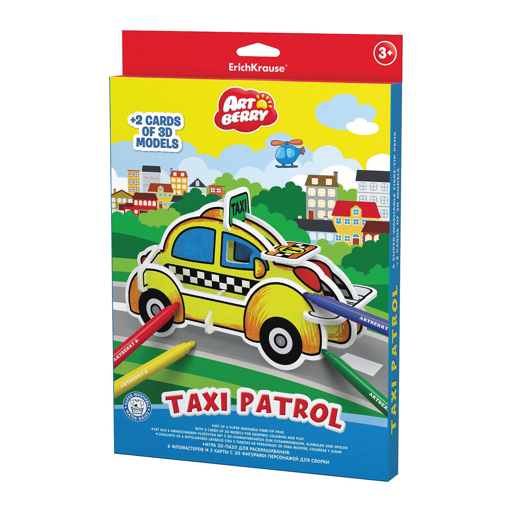Erich Krause Игровой 3D пазл для раскрашивания Artberry Taxi Patrol (6 фломастеров+2 карты с фигурами для сборки)Рисование<br><br><br>Ширина мм: 310<br>Глубина мм: 210<br>Высота мм: 20<br>Вес г: 242<br>Возраст от месяцев: 36<br>Возраст до месяцев: 72<br>Пол: Унисекс<br>Возраст: Детский<br>SKU: 6878871