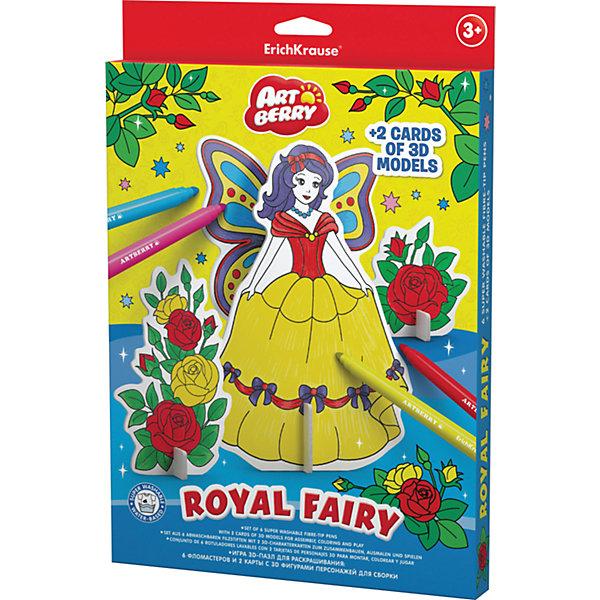 Erich Krause Игровой 3D пазл для раскрашивания Artberry Royal Fairy (6 фломастеров+2 карты с фигурами для сборки)Наборы для раскрашивания<br>Характеристики товара:<br><br>• в комплекте: 6 фломастеров, 2 карты с пазлами;<br>• цвета: синий, красный, желтый, зеленый, оранжевый, фиолетовый;<br>• материал: пластик, картон;<br>• размер упаковки: 2х21х31 см;<br>• вес: 243 грамма;<br>• возраст: от 3 лет.<br><br>Набор ArtBerry Royal Fairy сочетает в себе два варианта для детского творчества: собирание пазлов и рисование. В набор входят 6 фломастеров и 2 карты с пазлами. Из пазлов ребенок сможет собрать 3D фигурку сказочного персонажа без применения клея и ножниц. Готовую фигурку можно раскрасить по образцу или придумать свой прекрасный образ. Игра с набором способствуют развитию мелкой моторики, художественных навыков, фантазии и усидчивости.<br><br>Erich Krause (Эрих Краузе) Игровой 3D пазл для раскрашивания ArtBerry Royal Fairy (6 фломастеров+2 карты с фигурами для сборки) можно купить в нашем интернет-магазине.<br>Ширина мм: 310; Глубина мм: 210; Высота мм: 20; Вес г: 242; Возраст от месяцев: 36; Возраст до месяцев: 72; Пол: Унисекс; Возраст: Детский; SKU: 6878872;