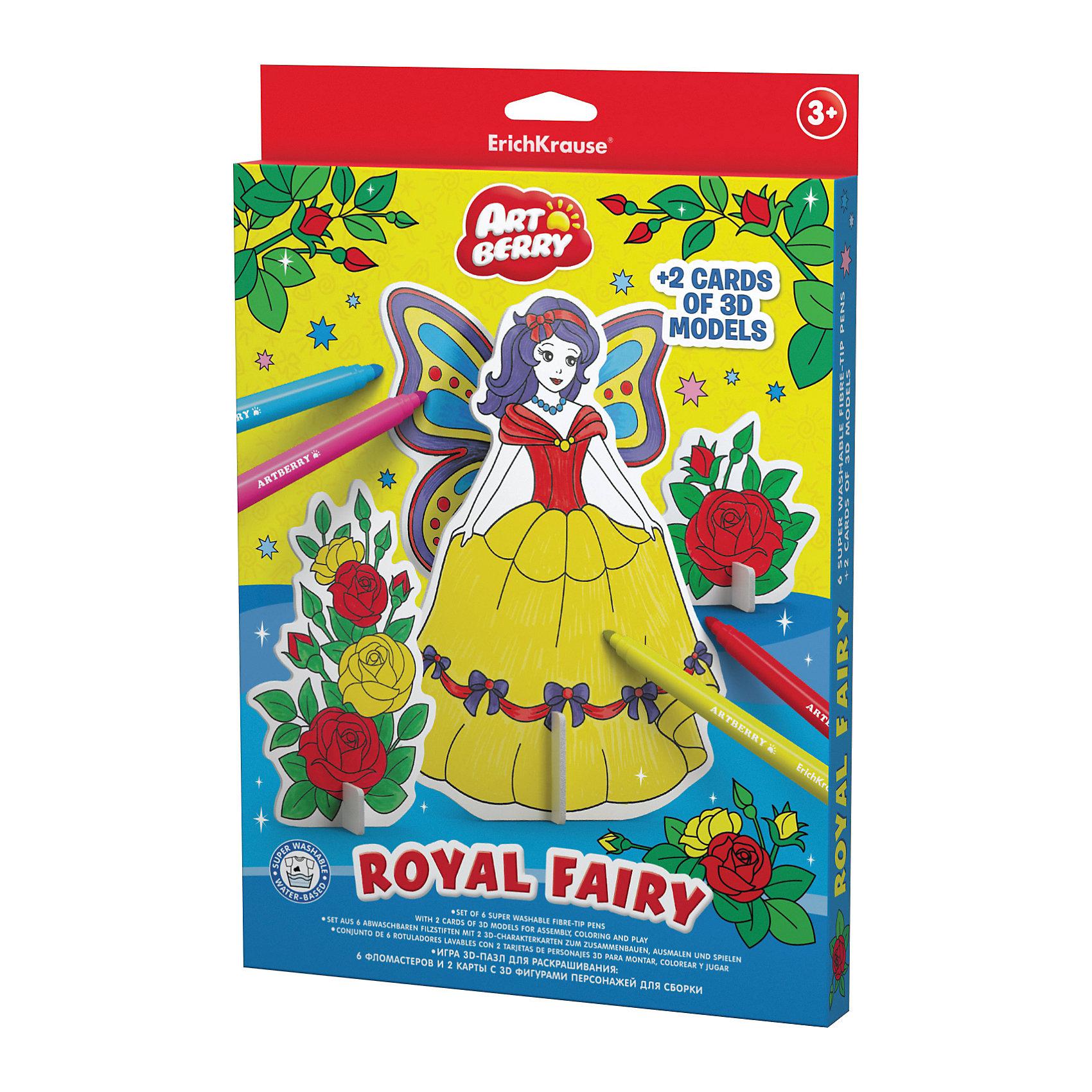 Erich Krause Игровой 3D пазл для раскрашивания Artberry Royal Fairy (6 фломастеров+2 карты с фигурами для сборки)Рисование<br><br><br>Ширина мм: 310<br>Глубина мм: 210<br>Высота мм: 20<br>Вес г: 242<br>Возраст от месяцев: 36<br>Возраст до месяцев: 72<br>Пол: Унисекс<br>Возраст: Детский<br>SKU: 6878872