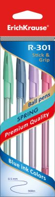 Erich Krause Ручка шариковая R-301 SPRING 0,7мм чернила синие Stick&Grip в наборе из 4 штук (пакет)
