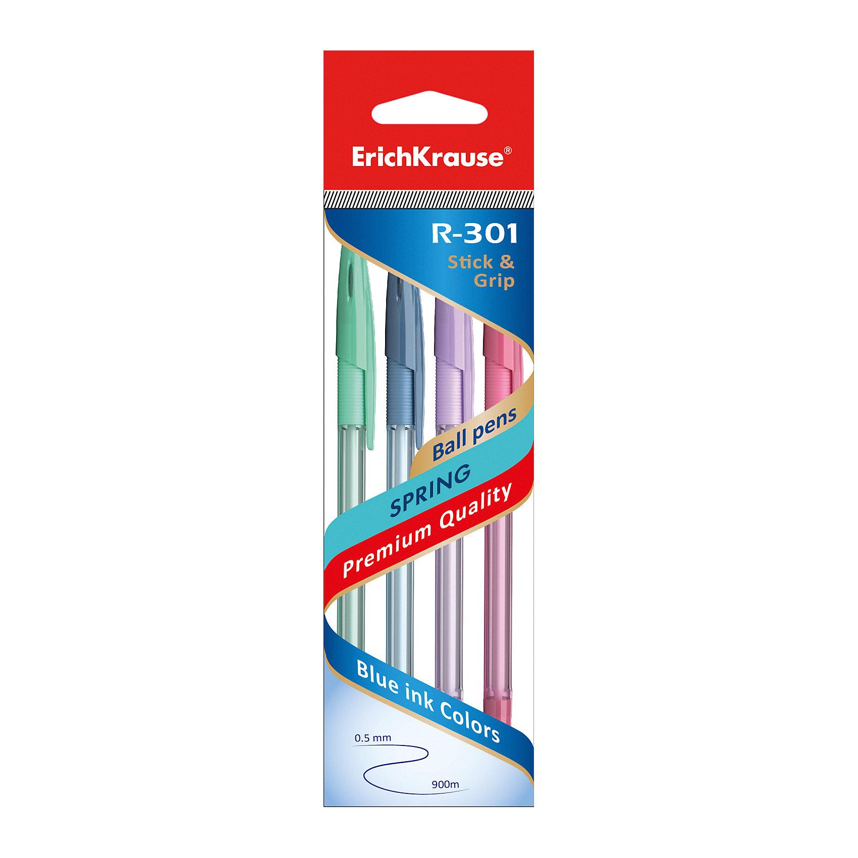 Erich Krause Ручка шариковая R-301 SPRING 0,7мм чернила синие Stick&amp;Grip в наборе из 4 штук (пакет)Письменные принадлежности<br><br><br>Ширина мм: 200<br>Глубина мм: 60<br>Высота мм: 15<br>Вес г: 31<br>Возраст от месяцев: 84<br>Возраст до месяцев: 2147483647<br>Пол: Унисекс<br>Возраст: Детский<br>SKU: 6878967