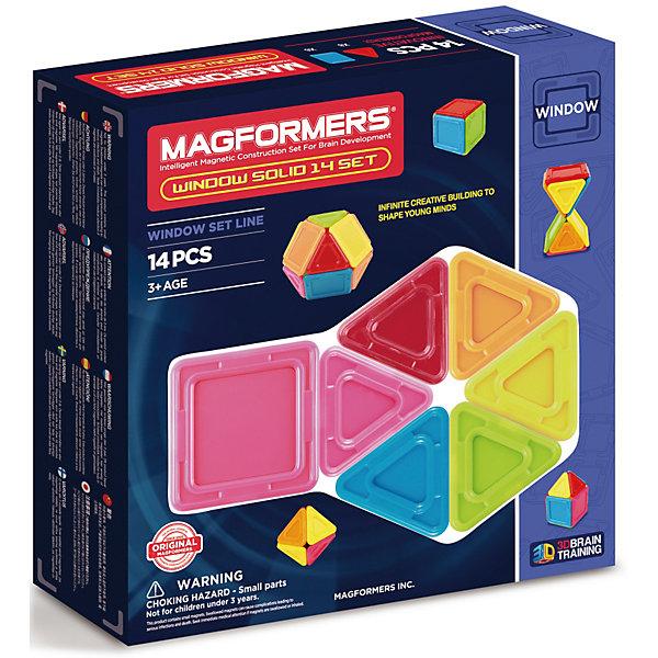 Магнитный конструктор 714005 Window Solid 14 set, MAGFORMERSМагнитные конструкторы<br>Характеристики товара:<br><br>• возраст: от 3 лет;<br>• материал: пластик;<br>• в комплекте: 14 деталей, инструкция;<br>• размер упаковки: 22х21х5 см;<br>• вес упаковки: 400 гр.;<br>• страна производитель: Корея.<br><br>Магнитный конструктор Window Solid 14 set Magformers позволит детям построить из элементов разнообразные фигурки, дома, башни, машины, животных. Детали конструктора соединяются между собой благодаря магнитам. Магниты внутри деталей уже сделаны таким образом, что позволяют элементам присоединяться и поворачиваться друг к другу нужной стороной.<br><br>В набор входит инструкция, которая поможет малышам создать свои первые фигурки. Конструктор развивает у детей пространственное и логическое мышление, мелкую моторику рук, воображение и фантазию. Элементы выполнены из прочного качественного пластика.<br><br>Магнитный конструктор Window Solid 14 set Magformers можно приобрести в нашем интернет-магазине.<br><br>Ширина мм: 22<br>Глубина мм: 210<br>Высота мм: 50<br>Вес г: 400<br>Возраст от месяцев: 36<br>Возраст до месяцев: 2147483647<br>Пол: Унисекс<br>Возраст: Детский<br>SKU: 6881958