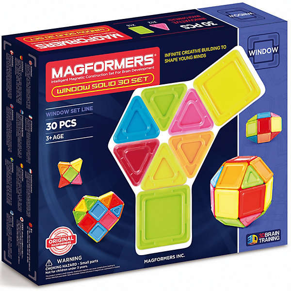 Магнитный конструктор 714006 Window Solid 30 set, MAGFORMERSМагнитные конструкторы<br>Характеристики товара:<br><br>• возраст: от 3 лет;<br>• материал: пластик;<br>• в комплекте: 30 деталей, инструкция;<br>• размер упаковки: 24х29х5 см;<br>• вес упаковки: 683 гр.;<br>• страна производитель: Корея.<br><br>Магнитный конструктор Window Solid 30 set Magformers позволит детям построить из элементов разнообразные фигурки, дома, башни, машины, животных. Детали конструктора соединяются между собой благодаря магнитам. Магниты внутри деталей уже сделаны таким образом, что позволяют элементам присоединяться и поворачиваться друг к другу нужной стороной.<br><br>В набор входит инструкция, которая поможет малышам создать свои первые фигурки. Конструктор развивает у детей пространственное и логическое мышление, мелкую моторику рук, воображение и фантазию. Элементы выполнены из прочного качественного пластика.<br><br>Магнитный конструктор Window Solid 30 set Magformers можно приобрести в нашем интернет-магазине.<br><br>Ширина мм: 240<br>Глубина мм: 290<br>Высота мм: 50<br>Вес г: 683<br>Возраст от месяцев: 36<br>Возраст до месяцев: 2147483647<br>Пол: Унисекс<br>Возраст: Детский<br>SKU: 6881959