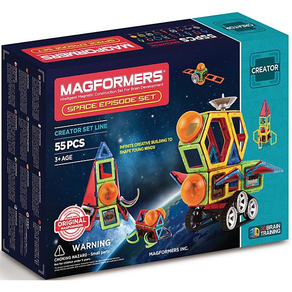 Магнитный конструктор 703014 Space Episode set, MAGFORMERSМагнитные конструкторы<br>Характеристики товара:<br><br>• возраст: от 3 лет;<br>• материал: пластик;<br>• в комплекте: 55 деталей, инструкция;<br>• размер упаковки: 28,5х38х9,5 см;<br>• вес упаковки: 1,48 кг;<br>• страна производитель: Корея.<br><br>Магнитный конструктор Space Episode set Magformers позволит детям построить из элементов космические летательные аппараты, корабли, спутники. Конструктор Magformers — удивительный конструктор, детали которого соединяются между собой благодаря магнитам. Магниты внутри элементов уже сделаны таким образом, что позволяют им присоединяться и поворачиваться друг к другу нужной стороной.<br><br>В набор входит инструкция, которая поможет малышам создать свои первые фигурки. Конструктор развивает у детей пространственное и логическое мышление, мелкую моторику рук, воображение и фантазию. Элементы выполнены из прочного качественного пластика.<br><br>Магнитный конструктор Space Episode set Magformers можно приобрести в нашем интернет-магазине.<br><br>Ширина мм: 285<br>Глубина мм: 380<br>Высота мм: 95<br>Вес г: 1480<br>Возраст от месяцев: 36<br>Возраст до месяцев: 2147483647<br>Пол: Унисекс<br>Возраст: Детский<br>SKU: 6881960