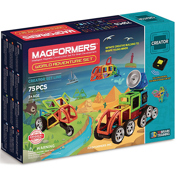 Магнитный конструктор 703013 Adventure World set, MAGFORMERSМагнитные конструкторы<br>Характеристики товара:<br><br>• возраст: от 3 лет;<br>• материал: пластик;<br>• в комплекте: 75 деталей, инструкция;<br>• размер упаковки: 36х51х8,5 см;<br>• вес упаковки: 2,33 кг;<br>• страна производитель: Корея.<br><br>Магнитный конструктор World Adventure set Magformers позволит отправиться на поиски приключений. Из элементов дети смогут собрать животных с разных уголков нашей планеты, большие машины, дома. Конструктор Magformers — удивительный конструктор, детали которого соединяются между собой благодаря магнитам. Магниты внутри элементов уже сделаны таким образом, что позволяют им присоединяться и поворачиваться друг к другу нужной стороной.<br><br>В набор входит инструкция, которая поможет малышам создать свои первые фигурки. Конструктор развивает у детей пространственное и логическое мышление, мелкую моторику рук, воображение и фантазию. Элементы выполнены из прочного качественного пластика.<br><br>Магнитный конструктор World Adventure set Magformers можно приобрести в нашем интернет-магазине.<br>Ширина мм: 360; Глубина мм: 510; Высота мм: 85; Вес г: 2330; Возраст от месяцев: 36; Возраст до месяцев: 2147483647; Пол: Унисекс; Возраст: Детский; SKU: 6881961;