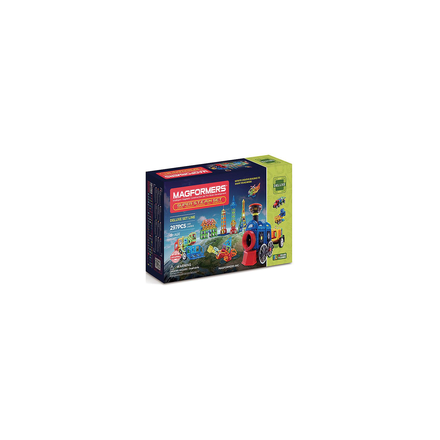 Магнитный конструктор 710009 Super Steam set, MAGFORMERSМагнитные конструкторы<br>Характеристики товара:<br><br>• возраст: от 3 лет;<br>• материал: пластик;<br>• в комплекте: 337 деталей, поршневые гидравлические элементы для крана, инструкция;<br>• размер упаковки: 83х51х17 см;<br>• вес упаковки: 9,18 кг;<br>• страна производитель: Корея.<br><br>Магнитный конструктор Super Steam set Magformers позволит детям построить разнообразные фигурки, машины, башни, дома, животных. Конструктор Magformers — удивительный конструктор, детали которого соединяются между собой благодаря магнитам. Магниты внутри элементов уже сделаны таким образом, что позволяют им присоединяться и поворачиваться друг к другу нужной стороной.<br><br>В набор входит инструкция, которая поможет малышам создать свои первые фигурки. Конструктор развивает у детей пространственное и логическое мышление, мелкую моторику рук, воображение и фантазию. Элементы выполнены из прочного качественного пластика.<br><br>Магнитный конструктор Super Steam set Magformers можно приобрести в нашем интернет-магазине.<br><br>Ширина мм: 510<br>Глубина мм: 830<br>Высота мм: 170<br>Вес г: 9180<br>Возраст от месяцев: 36<br>Возраст до месяцев: 2147483647<br>Пол: Унисекс<br>Возраст: Детский<br>SKU: 6881962
