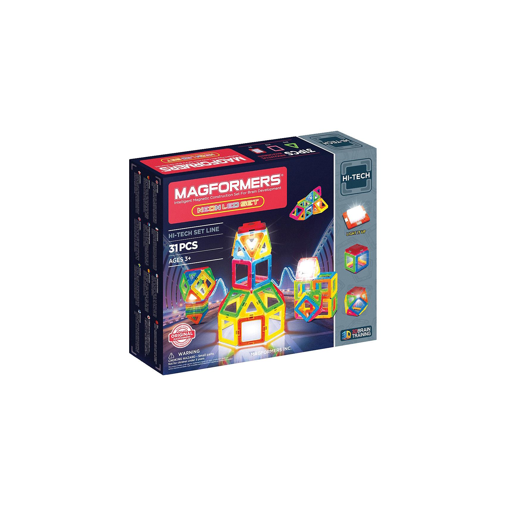 Магнитный конструктор 709007 Neon Led set, MAGFORMERSМагнитные конструкторы<br>Характеристики товара:<br><br>• возраст: от 3 лет;<br>• материал: пластик;<br>• в комплекте: 30 деталей, светодиодный элемент, инструкция;<br>• размер упаковки: 24х28х5 см;<br>• вес упаковки: 793 гр.;<br>• страна производитель: Корея.<br><br>Магнитный конструктор Neon Led set Magformers позволит детям построить разнообразные геометрические фигуры, машины, башни, дома. Конструктор Magformers — удивительный конструктор, детали которого соединяются между собой благодаря магнитам. Магниты внутри элементов уже сделаны таким образом, что позволяют им присоединяться и поворачиваться друг к другу нужной стороной.<br><br>В комплект данного набора входит светодиодный элемент, благодаря которому готовая фигурка светится в темноте. Конструктор развивает у детей пространственное и логическое мышление, мелкую моторику рук, воображение и фантазию. Элементы выполнены из прочного качественного пластика.<br><br>Магнитный конструктор Neon Led set Magformers можно приобрести в нашем интернет-магазине.<br><br>Ширина мм: 240<br>Глубина мм: 280<br>Высота мм: 50<br>Вес г: 793<br>Возраст от месяцев: 36<br>Возраст до месяцев: 2147483647<br>Пол: Унисекс<br>Возраст: Детский<br>SKU: 6881963