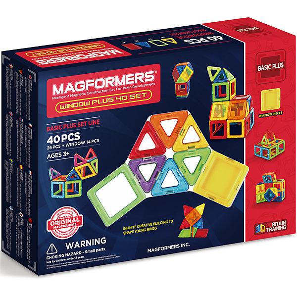 Магнитный конструктор 715002 Window Plus Set 40 set, MAGFORMERSМагнитные конструкторы<br>Характеристики товара:<br><br>• возраст: от 3 лет;<br>• материал: пластик;<br>• в комплекте: 40 деталей, инструкция;<br>• размер упаковки: 28х38х6 см;<br>• вес упаковки: 750 гр.;<br>• страна производитель: Корея.<br><br>Магнитный конструктор Window Plus Set 40 set Magformers позволит детям построить из элементов разнообразные фигурки, дома, башни, машины, животных. Детали конструктора соединяются между собой благодаря магнитам. Магниты внутри деталей уже сделаны таким образом, что позволяют элементам присоединяться и поворачиваться друг к другу нужной стороной.<br><br>В набор входит инструкция, которая поможет малышам создать свои первые фигурки. Конструктор развивает у детей пространственное и логическое мышление, мелкую моторику рук, воображение и фантазию. Элементы выполнены из прочного качественного пластика.<br><br>Магнитный конструктор Window Plus Set 40 set Magformers можно приобрести в нашем интернет-магазине.<br>Ширина мм: 280; Глубина мм: 380; Высота мм: 60; Вес г: 750; Возраст от месяцев: 36; Возраст до месяцев: 2147483647; Пол: Унисекс; Возраст: Детский; SKU: 6881969;