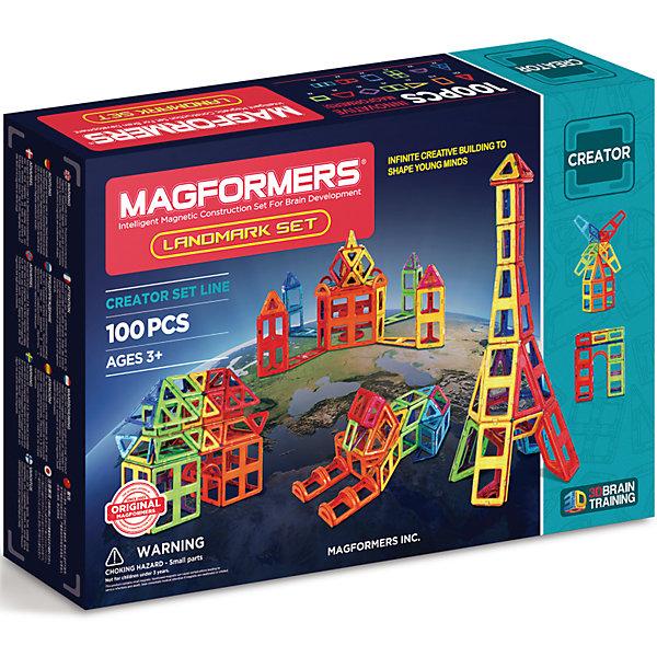 Магнитный конструктор 703008 Landmark set, MAGFORMERSМагнитные конструкторы<br>Характеристики товара:<br><br>• возраст: от 3 лет;<br>• материал: пластик;<br>• в комплекте: 100 деталей, инструкция;<br>• размер упаковки: 51х35х10 см;<br>• вес упаковки: 2,5 кг;<br>• страна производитель: Корея.<br><br>Магнитный конструктор Landmark set Magformers позволит детям построить разнообразные фигурки, башни, дома. Конструктор Magformers — удивительный конструктор, детали которого соединяются между собой благодаря магнитам. Магниты внутри элементов уже сделаны таким образом, что позволяют им присоединяться и поворачиваться друг к другу нужной стороной.<br><br>В набор входит инструкция, которая поможет малышам создать свои первые фигурки. Конструктор развивает у детей пространственное и логическое мышление, мелкую моторику рук, воображение и фантазию. Элементы выполнены из прочного качественного пластика.<br><br>Магнитный конструктор Landmark set Magformers можно приобрести в нашем интернет-магазине.<br>Ширина мм: 350; Глубина мм: 510; Высота мм: 100; Вес г: 2500; Возраст от месяцев: 36; Возраст до месяцев: 2147483647; Пол: Унисекс; Возраст: Детский; SKU: 6881970;