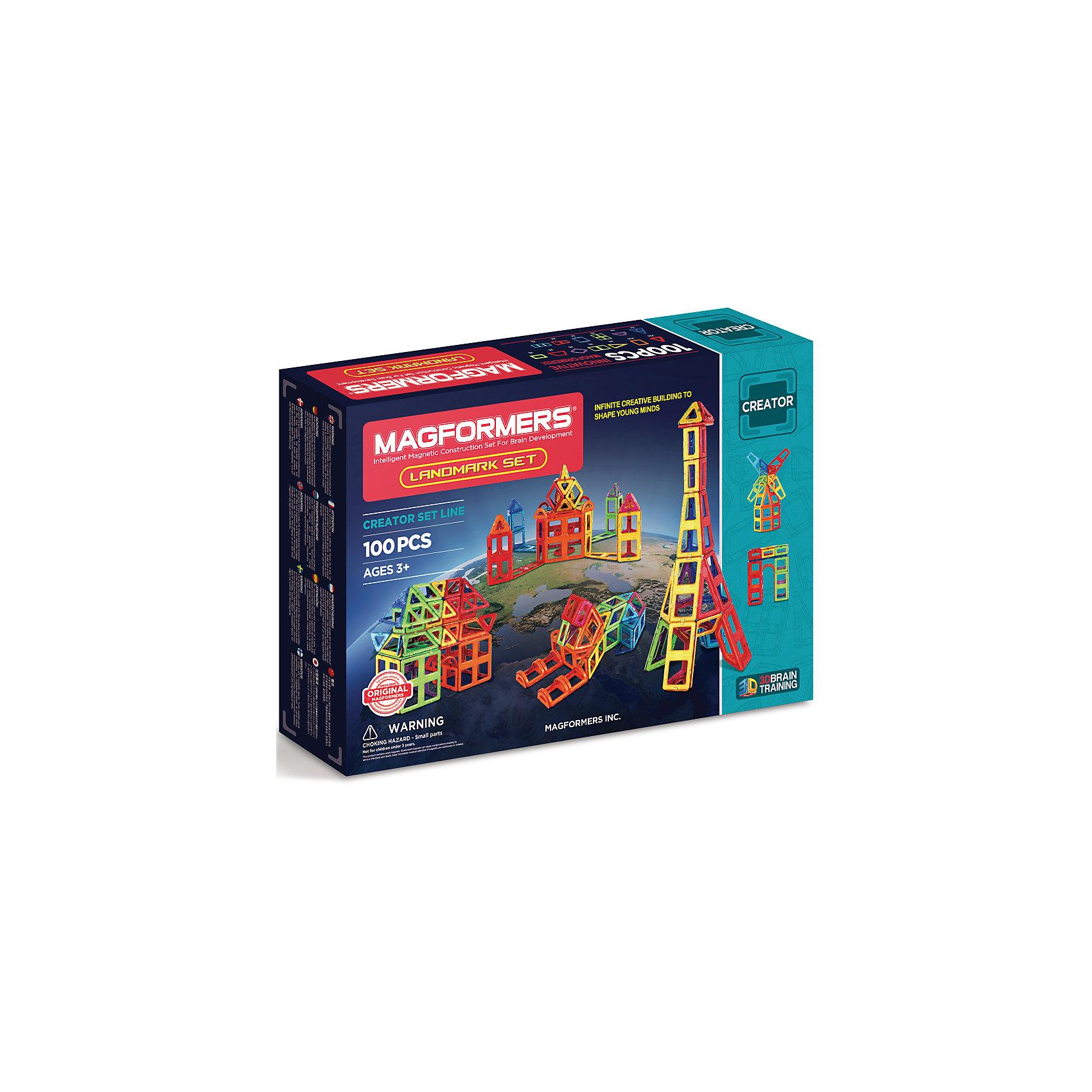 Магнитный конструктор 703008 Landmark set, MAGFORMERSМагнитные конструкторы<br>Характеристики товара:<br><br>• возраст: от 3 лет;<br>• материал: пластик;<br>• в комплекте: 100 деталей, инструкция;<br>• размер упаковки: 51х35х10 см;<br>• вес упаковки: 2,5 кг;<br>• страна производитель: Корея.<br><br>Магнитный конструктор Landmark set Magformers позволит детям построить разнообразные фигурки, башни, дома. Конструктор Magformers — удивительный конструктор, детали которого соединяются между собой благодаря магнитам. Магниты внутри элементов уже сделаны таким образом, что позволяют им присоединяться и поворачиваться друг к другу нужной стороной.<br><br>В набор входит инструкция, которая поможет малышам создать свои первые фигурки. Конструктор развивает у детей пространственное и логическое мышление, мелкую моторику рук, воображение и фантазию. Элементы выполнены из прочного качественного пластика.<br><br>Магнитный конструктор Landmark set Magformers можно приобрести в нашем интернет-магазине.<br><br>Ширина мм: 350<br>Глубина мм: 510<br>Высота мм: 100<br>Вес г: 2500<br>Возраст от месяцев: 36<br>Возраст до месяцев: 2147483647<br>Пол: Унисекс<br>Возраст: Детский<br>SKU: 6881970