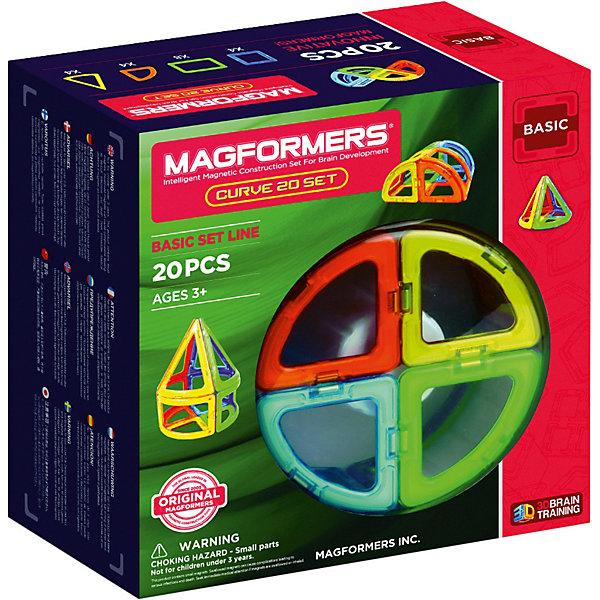 Магнитный конструктор 701010 Curve 20, MAGFORMERSМагнитные конструкторы<br>Характеристики товара:<br><br>• возраст: от 3 лет;<br>• материал: пластик;<br>• в комплекте: 20 деталей, инструкция;<br>• размер упаковки: 22х21х10 см;<br>• вес упаковки: 750 гр.;<br>• страна производитель: Корея.<br><br>Магнитный конструктор Curve 20 Magformers позволит детям построить разнообразные геометрические фигуры, округлые фигурки, башни. Конструктор Magformers — удивительный конструктор, детали которого соединяются между собой благодаря магнитам. Магниты внутри элементов уже сделаны таким образом, что позволяют им присоединяться и поворачиваться друг к другу нужной стороной.<br><br>В набор входят изогнутые детали, арки, конусы, благодаря которым получаются необычные модели округлой формы. Конструктор развивает у детей пространственное и логическое мышление, мелкую моторику рук, воображение и фантазию. Элементы выполнены из прочного качественного пластика.<br><br>Магнитный конструктор Curve 20 Magformers можно приобрести в нашем интернет-магазине.<br>Ширина мм: 220; Глубина мм: 210; Высота мм: 100; Вес г: 750; Возраст от месяцев: 36; Возраст до месяцев: 2147483647; Пол: Унисекс; Возраст: Детский; SKU: 6881971;