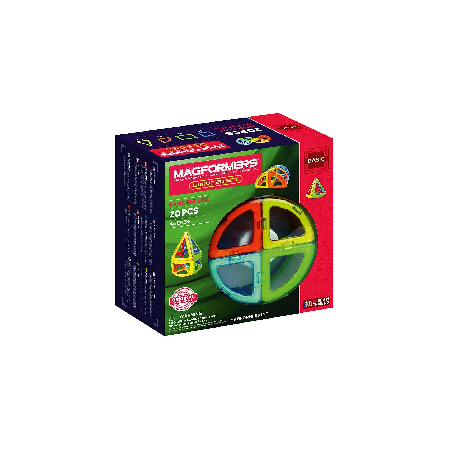 Магнитный конструктор 701010 Curve 20, MAGFORMERSМагнитные конструкторы<br>Характеристики товара:<br><br>• возраст: от 3 лет;<br>• материал: пластик;<br>• в комплекте: 20 деталей, инструкция;<br>• размер упаковки: 22х21х10 см;<br>• вес упаковки: 750 гр.;<br>• страна производитель: Корея.<br><br>Магнитный конструктор Curve 20 Magformers позволит детям построить разнообразные геометрические фигуры, округлые фигурки, башни. Конструктор Magformers — удивительный конструктор, детали которого соединяются между собой благодаря магнитам. Магниты внутри элементов уже сделаны таким образом, что позволяют им присоединяться и поворачиваться друг к другу нужной стороной.<br><br>В набор входят изогнутые детали, арки, конусы, благодаря которым получаются необычные модели округлой формы. Конструктор развивает у детей пространственное и логическое мышление, мелкую моторику рук, воображение и фантазию. Элементы выполнены из прочного качественного пластика.<br><br>Магнитный конструктор Curve 20 Magformers можно приобрести в нашем интернет-магазине.<br><br>Ширина мм: 220<br>Глубина мм: 210<br>Высота мм: 100<br>Вес г: 750<br>Возраст от месяцев: 36<br>Возраст до месяцев: 2147483647<br>Пол: Унисекс<br>Возраст: Детский<br>SKU: 6881971
