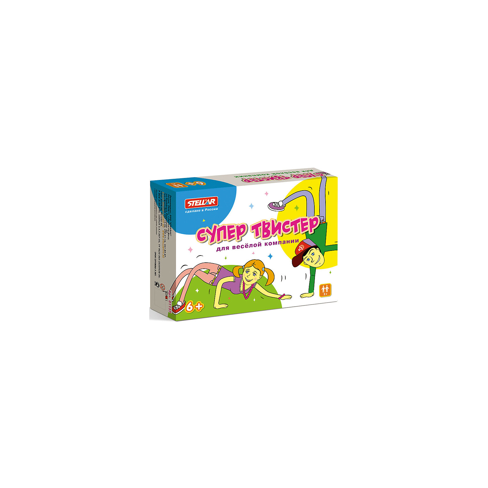 Настольная игра Супер Твистер, Стеллар-МТоп игр<br>Характеристики товара:<br><br>• возраст: от 6 лет;<br>• материал: картон;<br>• количество игроков: от 2 человек;<br>• в комплекте: коврик, рулетка;<br>• размер коврика: 121х177 см;<br>• размер упаковки: 28х22х5,5 см;<br>• вес упаковки: 460 гр.;<br>• страна производитель: Россия.<br><br>Настольная игра «Супер Твистер» Стеллар-М — популярная и знакомая многим игра в твистер. На поле располагаются разноцветные круги. Участник крутит рулетку и ставит руку или ногу на определенную выпавшую позицию на коврике. Чем больше участников уже стоит на коврике, тем сложнее держать равновесие. Победит тот, кто не упадет.<br><br>Настольную игру «Супер Твистер» Стеллар-М можно приобрести в нашем интернет-магазине.<br><br>Ширина мм: 280<br>Глубина мм: 220<br>Высота мм: 55<br>Вес г: 460<br>Возраст от месяцев: 72<br>Возраст до месяцев: 2147483647<br>Пол: Унисекс<br>Возраст: Детский<br>SKU: 6883633