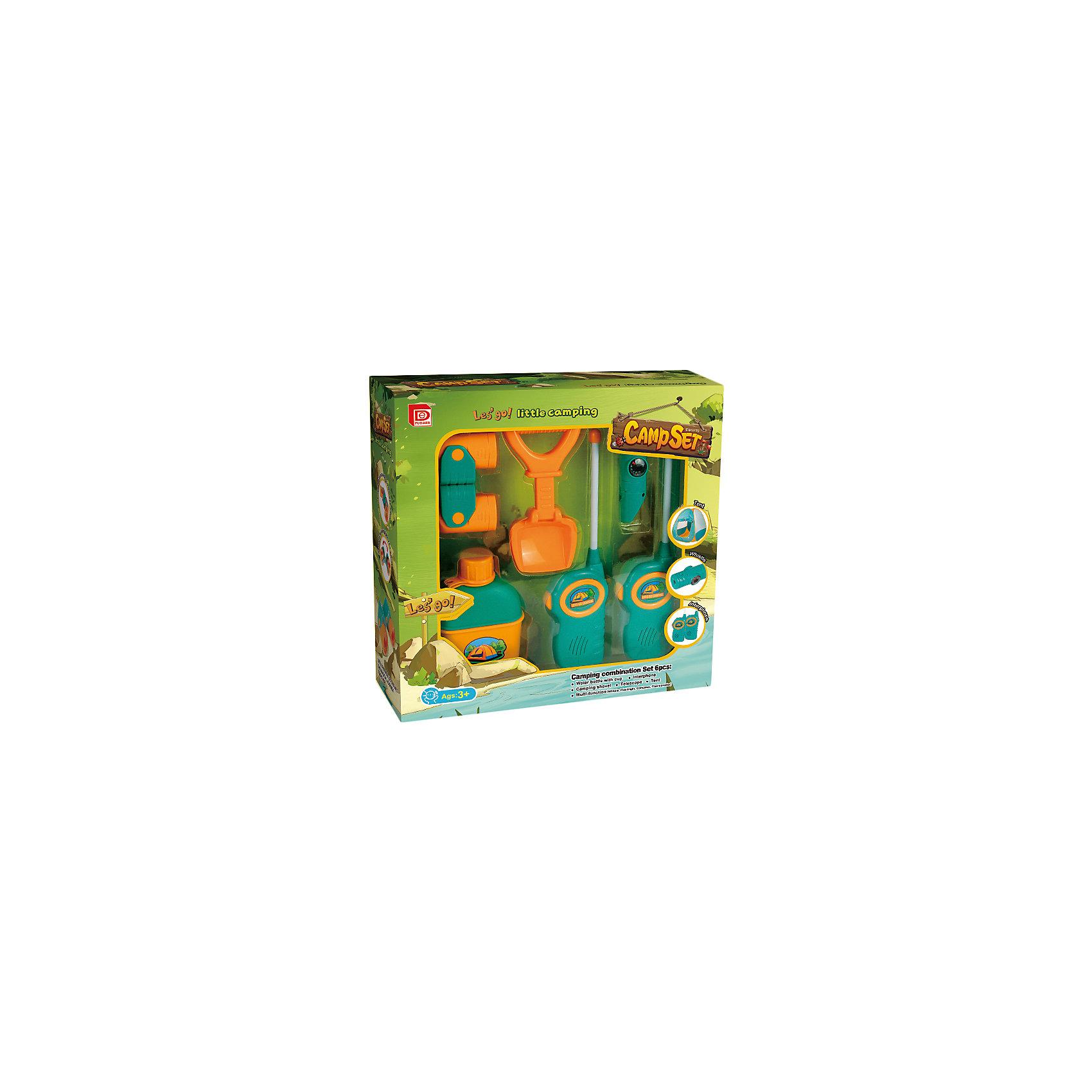 Набор юного туриста с палаткой, 6 предметов, FudaerИдеи подарков<br>Характеристики товара:<br><br>• возраст: от 3 лет;<br>• материал: пластик;<br>• в комплекте: палатка, 2 рации, лопатка, бутылка, многофункциональный прибор, бинокль;<br>• размер упаковки: 69х35х70 см;<br>• вес упаковки: 1,2 кг;<br>• страна производитель: Китай.<br><br>Набор юного туриста в палаткой Fudaer 6 предметов разнообразит детские игры на свежем воздухе или подойдет для школьных походов и пикников.<br><br>Набор юного туриста в палаткой Fudaer 6 предметов можно приобрести в нашем интернет-магазине.<br><br>Ширина мм: 690<br>Глубина мм: 350<br>Высота мм: 700<br>Вес г: 1200<br>Возраст от месяцев: 36<br>Возраст до месяцев: 168<br>Пол: Унисекс<br>Возраст: Детский<br>SKU: 6883978