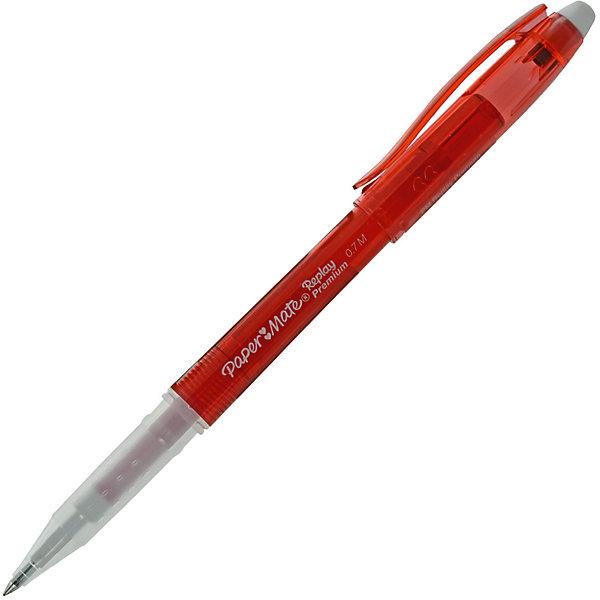 Ручка гелевая Paper mate Replay Premium со стираемыми чернилами, краснаяПисьменные принадлежности<br>Характеристики товара:<br><br>• стираемые чернила;<br>• ребристая зона захвата; <br>• цвет чернил: красный;<br>• материал: пластик, металл;<br>• пишущий узел: 0,7 мм;<br>• толщина линии: 0,5 мм;<br>• размер упаковки: 1х1х14 см;<br>• вес: 10 грамм;<br>• возраст: от 3 лет.<br><br>Гелевая ручка Replay Premium позволяет быстро исправить ошибки и опечатки. Красные гелевые чернила легко стираются ластиком, расположенным в верхней части ручки. При исправлении ошибок ластик не оставляет грязи и клякс.<br><br>Зона захвата имеет рельефную поверхность, препятствующую скольжению ручки в руке. Стержень можно заменить в случае необходимости. Толщина линии - 0,5 мм.<br><br>PAPER MATE (Пэйпер Мэйт) Ручку с гелевыми стираемыми чернилами REPLAY PREMIUM можно купить в нашем интернет-магазине.<br><br>Ширина мм: 140<br>Глубина мм: 10<br>Высота мм: 10<br>Вес г: 10<br>Возраст от месяцев: 36<br>Возраст до месяцев: 2147483647<br>Пол: Унисекс<br>Возраст: Детский<br>SKU: 6884856