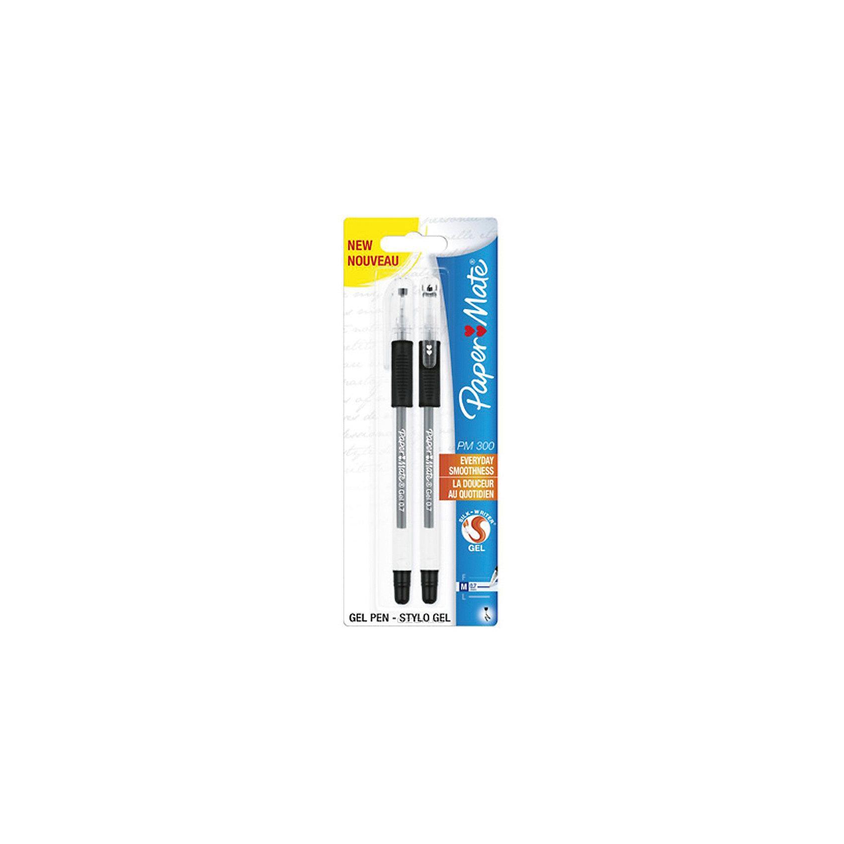 Ручка гелевая Paper mate PM 300 2 шт, чернаяПисьменные принадлежности<br>Характеристики товара:<br><br>• в комплекте: 2 ручки;<br>• толщина пишущего узла: 0,7 мм;<br>• резиновая манжета;<br>• цвет чернил: черный;<br>• размер упаковки: 1х3х17 см;<br>• вес: 27 грамм;<br>• возраст: от 3 лет.<br><br>Гелевая ручка PM 300 имеет трехстороннюю зону захвата для удобства письма. Кроме того, зона захвата дополнена резиновой манжетой, чтобы ручка не скользила в руке во время использования. Стержень оставляет на бумаге равномерные линии средней толщины.<br><br>PAPER MATE (Пэйпер Мэйт) Ручку гелевую PM 300 можно купить в нашем интернет-магазине.<br><br>Ширина мм: 170<br>Глубина мм: 30<br>Высота мм: 10<br>Вес г: 27<br>Возраст от месяцев: 36<br>Возраст до месяцев: 2147483647<br>Пол: Унисекс<br>Возраст: Детский<br>SKU: 6884858