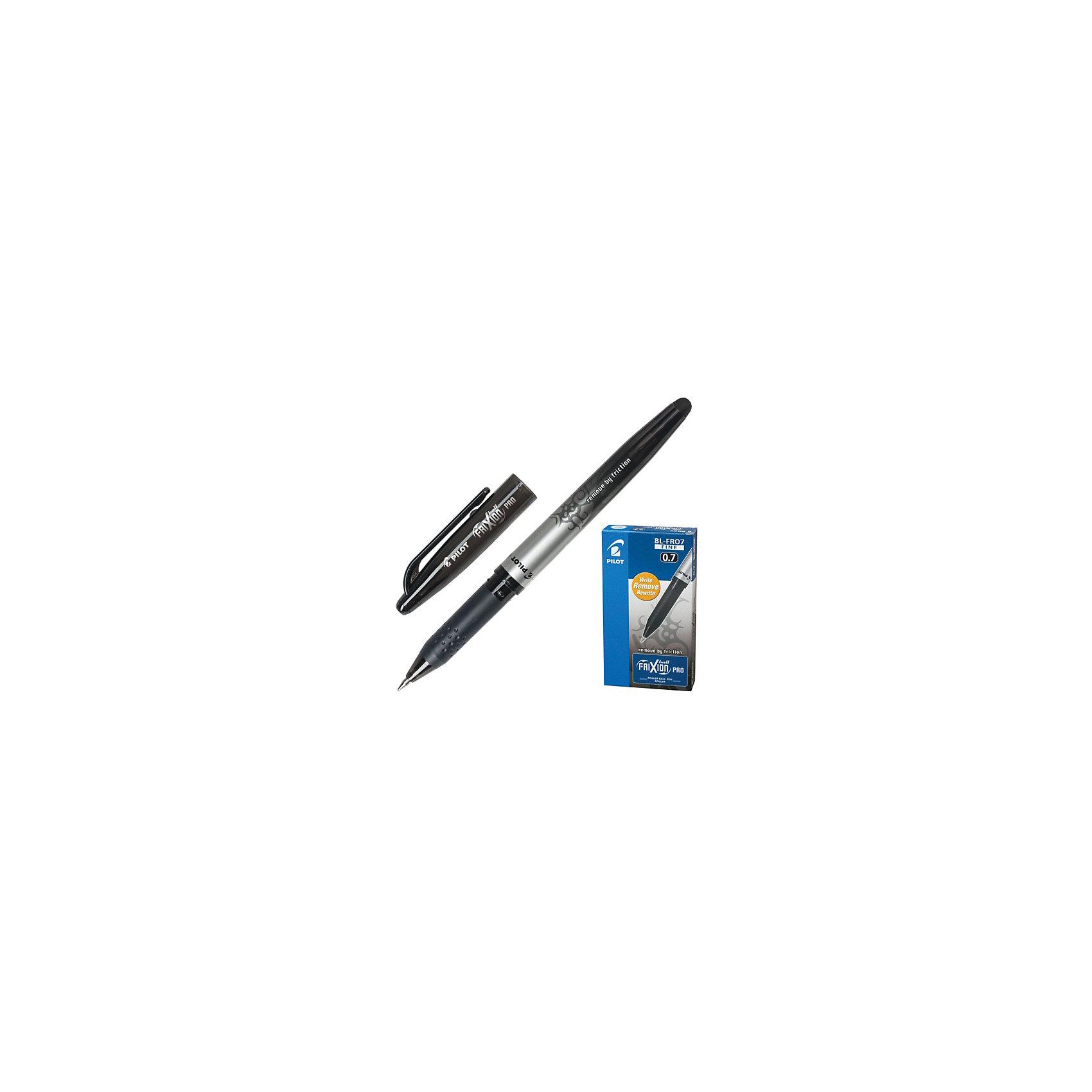 Ручка гелевая Pilot Frixion Rro со стриаемыми чернилами, чернаяПисьменные принадлежности<br>Характеристики товара:<br><br>• можно обесцветить написанное;<br>• быстрое восстановление чернил;<br>• цвет чернил: черный;<br>• диаметр шарика: 0,7 мм;<br>• размер упаковки: 1х1х14 см;<br>• вес: 12 грамм;<br>• возраст: от 3 лет.<br><br>С ручкой FRIXION PRO можно легко исправлять ошибки и проводить интересные эксперименты, которые обязательно удивят окружающих. Гелевые чернила FRIXION PRO чувствительны к перемене температуры. <br><br>При температуре выше 60 градусов чернила обесцвечиваются и исчезают с поверхности бумаги. Чтобы добиться нужного эффекта, достаточно потереть лист ластиком или нагреть любым горячим предметом. При температуре ниже 18 градусов пигментный состав чернил восстанавливается до первоначального уровня и текст вновь проявляется на поверхности бумаги.<br><br>PILOT (Пилот) Ручку гелевую FRIXION RRO можно купить в нашем интернет-магазине.<br><br>Ширина мм: 140<br>Глубина мм: 10<br>Высота мм: 10<br>Вес г: 12<br>Возраст от месяцев: 36<br>Возраст до месяцев: 2147483647<br>Пол: Унисекс<br>Возраст: Детский<br>SKU: 6884860