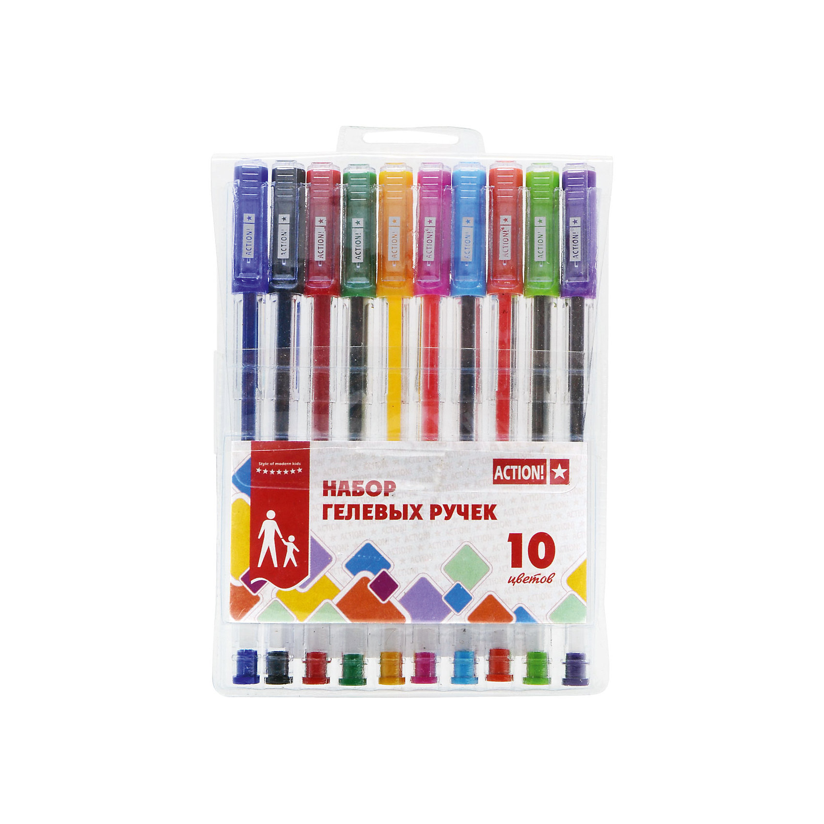 Набор шариковых ручек Action!, 10 цветовПисьменные принадлежности<br>Характеристики товара:<br><br>• в комплекте: 10 ручек (10 цветов);<br>• тип ручек: шариковые;<br>• диаметр шарика: 0,5 мм;<br>• размер упаковки: 1х10х17 см;<br>• вес: 68 грамм;<br>• возраст: от 3 лет.<br><br>Набор разноцветных ручек ACTION! поможет разнообразить творческие занятия ребенка. В комплект входят 10 ручек разных цветов. Чернила обладают ярким, насыщенным цветом. Они мягко ложатся на поверхность бумаги и быстро высыхают. Чернила не размазываются и долго сохраняют цвет.<br><br>ACTION! (Экшен!) Набор разноцветных шариковых ручек 10 цветов можно купить в нашем интернет-магазине.<br><br>Ширина мм: 170<br>Глубина мм: 100<br>Высота мм: 10<br>Вес г: 68<br>Возраст от месяцев: 36<br>Возраст до месяцев: 2147483647<br>Пол: Унисекс<br>Возраст: Детский<br>SKU: 6884867