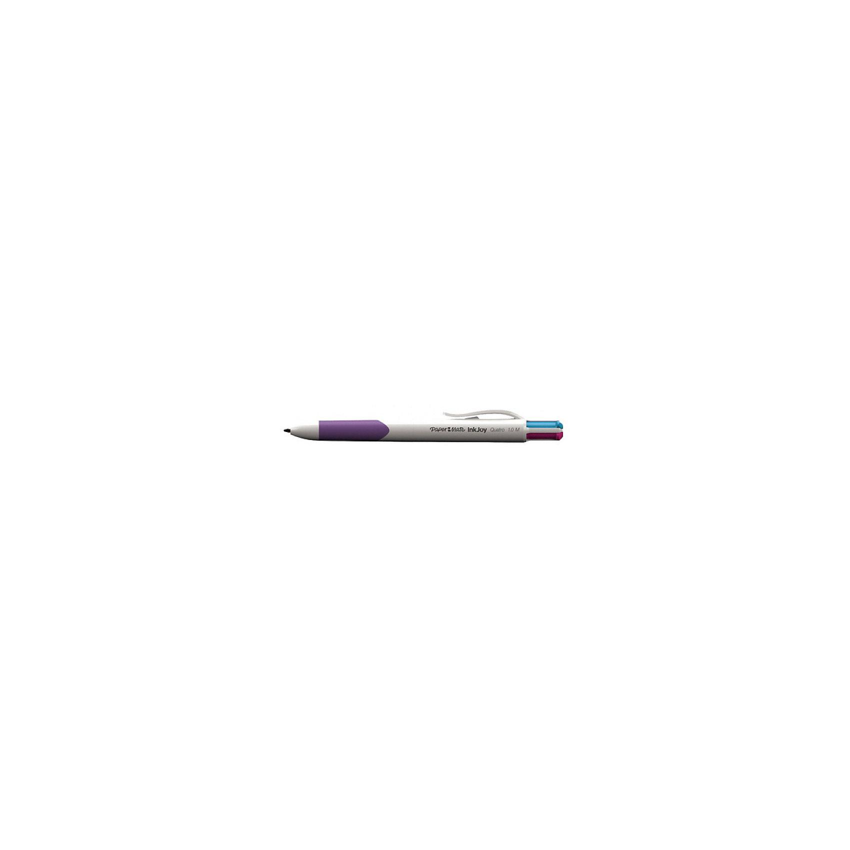 Ручка шариковая Paper mate Quatro, 4 цвета в одной ручкеПисьменные принадлежности<br>Характеристики товара:<br><br>• тип ручки: шариковая;<br>• цвета чернил: зеленый, голубой, розовый, фиолетовый;<br>• размер упаковки: 2х2х14 см;<br>• вес: 21 грамм;<br>• возраст: от 3 лет.<br><br>Шариковая ручка QUATRO содержит четыре стержня с чернилами: зеленый, голубой, розовый и фиолетовый. Чернила быстро высыхают и оставляют яркие, насыщенные линии. Корпус ручки изготовлен из прочного пластика. Зона захвата дополнена резиновыми элементами, обеспечивающими комфортное письмо и правильное сцепление с рукой. Зажим поможет удобно переносить ручку в кармане, блокноте или сумке.<br><br>PAPER MATE (Пэйпер Мэйт) Ручку шариковую QUATRO можно купить в нашем интернет-магазине.<br><br>Ширина мм: 140<br>Глубина мм: 20<br>Высота мм: 20<br>Вес г: 21<br>Возраст от месяцев: 36<br>Возраст до месяцев: 2147483647<br>Пол: Унисекс<br>Возраст: Детский<br>SKU: 6884869