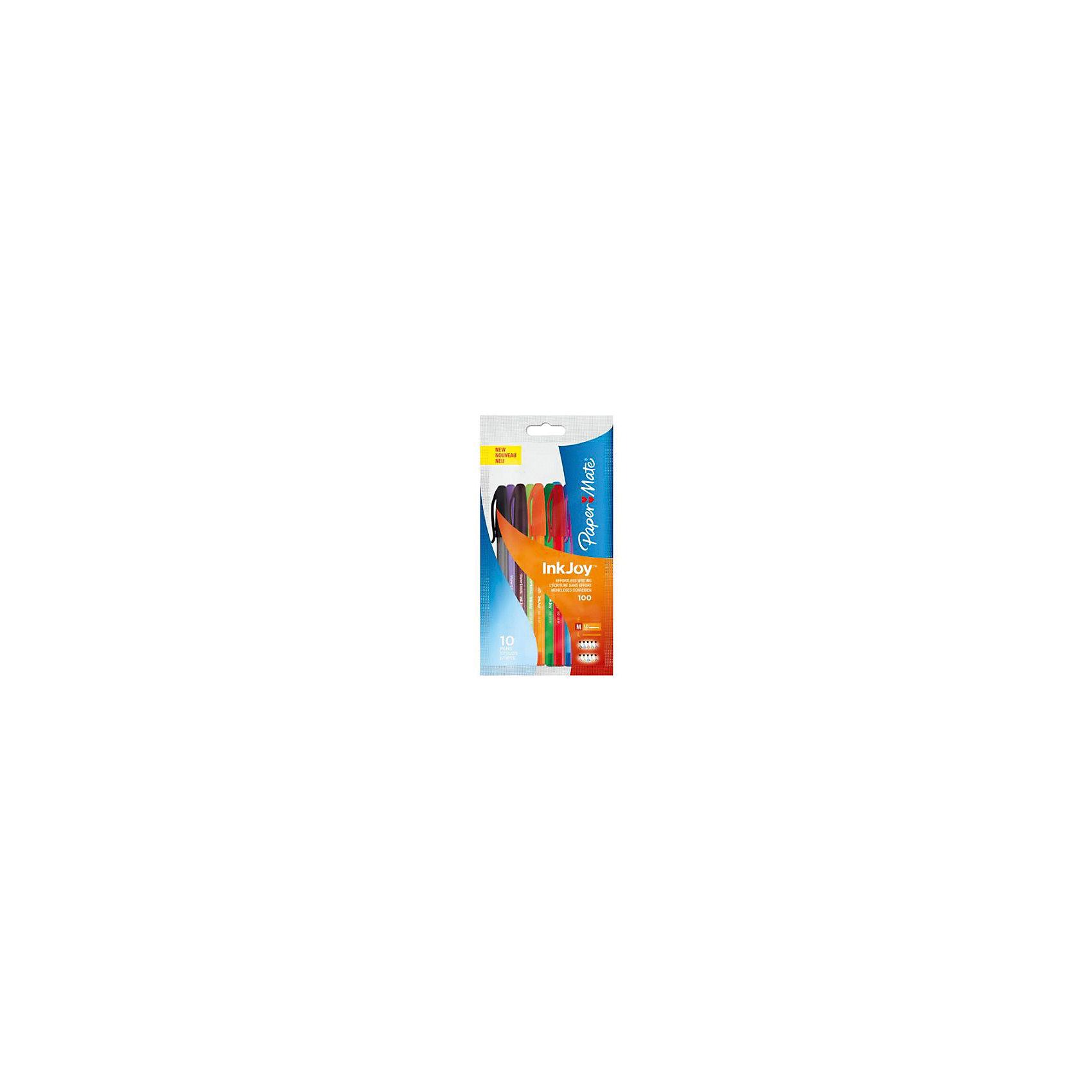 Набор шариковых ручек Paper mate Inkjoy, 10 цветовПисьменные принадлежности<br>Характеристики товара:<br><br>• в комплекте: 10 ручек;<br>• цвета чернил: черный, синий, красный, зеленый, розовый, салатовый, фиолетовый, коричневый, оранжевый, голубой;<br>• материал: пластик;<br>• толщина линии: 0,7 мм;<br>• размер упаковки: 1х10х17 см;<br>• вес: 80 грамм;<br>• возраст: от 3 лет.<br><br>В набор от PAPER MATE входят 10 шариковых ручек ярких цветов. Корпус ручки изготовлен из прочного полупрозрачного тонированного пластика, а шарик стержня - из нержавеющей стали. Такой шарик обеспечивает ручке долгое время использования. <br><br>Специальная система подачи чернил гарантирует комфортное письмо. Ручка начинает писать с самого начала и не оставляет пропусков на бумаге. Толщина линии - 0,7 мм.<br><br>PAPER MATE (Пэйпер Мэйт) Ручку шариковую INK JOY можно купить в нашем интернет-магазине.<br><br>Ширина мм: 170<br>Глубина мм: 100<br>Высота мм: 10<br>Вес г: 80<br>Возраст от месяцев: 36<br>Возраст до месяцев: 2147483647<br>Пол: Унисекс<br>Возраст: Детский<br>SKU: 6884881