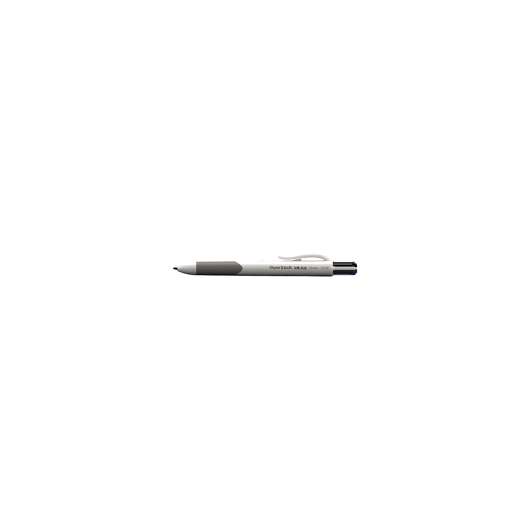 Ручка шариковая Paper mate Quatro, 4 цвета в одной ручкеПисьменные принадлежности<br>Пластиковый белый корпус с резиновым упором. 4 цвета в одной ручке: черный, синий, красный, зеленый. Толщина линии - 0,7 мм. Диаметр шарика - 1 мм<br><br>Ширина мм: 140<br>Глубина мм: 20<br>Высота мм: 20<br>Вес г: 14<br>Возраст от месяцев: 36<br>Возраст до месяцев: 2147483647<br>Пол: Унисекс<br>Возраст: Детский<br>SKU: 6884884