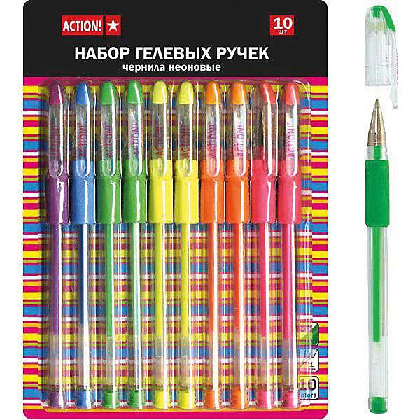 Набор гелевых ручек Action!, 10 цветовПисьменные принадлежности<br>Характеристики товара:<br><br>• в комплекте: 10 ручек (10 цветов);<br>• неоновые цвета;<br>• резиновый упор;<br>• диаметр шарика: 0,8 мм;<br>• размер упаковки: 1х5х15 см;<br>• вес: 129 грамм;<br>• возраст: от 3 лет.<br><br>В набор ACTION! входят 10 гелевых ручек с чернилами неоновых цветов. Яркие цвета станут настоящим украшением поделки или рисунка. Корпус ручки изготовлен из прочного прозрачного пластика. Корпус дополнен резиновой манжетой для пальцев. Она обеспечит удобный захват и поможет избежать скольжения ручки в руке.<br><br>ACTION! (Экшен!) Набор гелевых ручек с резин. упором ACTION!,10 штук можно купить в нашем интернет-магазине.<br><br>Ширина мм: 150<br>Глубина мм: 50<br>Высота мм: 10<br>Вес г: 129<br>Возраст от месяцев: 36<br>Возраст до месяцев: 2147483647<br>Пол: Унисекс<br>Возраст: Детский<br>SKU: 6884885