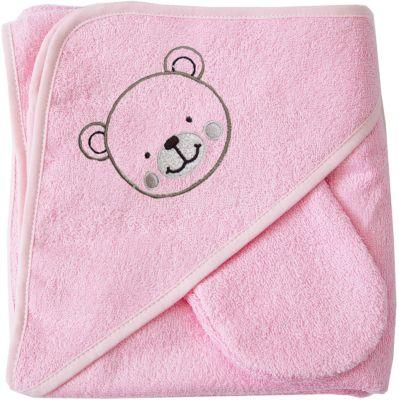 Махровое полотенце с уголком, 75х75 см., Baby Nice, розовый фото-1