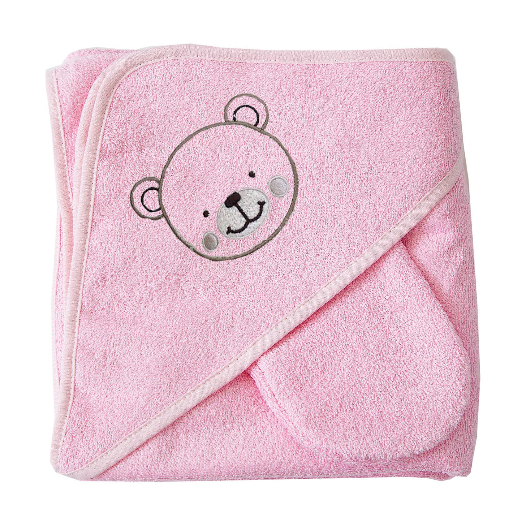 Махровое полотенце с уголком, 75х75 см., Baby Nice, розовыйПолотенца, мочалки, халаты<br>Комплект махровый для купания детский изготовлен из 100% натурального хлопка — уютный и очень комфортный по тактильным ощущениям. Специальная обработка плотной махровой ткани придает ей особые впитывающие влагу свойства, а также необыкновенную мягкость и пушистость. В комплект входит большой уголок 120Х120 см, который служит малышу одновременно полотенцем и капюшоном, а так же варежка для мытья ребенка и две салфетки. Комплекты махровые для купания окрашены гипоаллергенными красителями<br><br>Ширина мм: 250<br>Глубина мм: 250<br>Высота мм: 50<br>Вес г: 200<br>Возраст от месяцев: 0<br>Возраст до месяцев: 12<br>Пол: Унисекс<br>Возраст: Детский<br>SKU: 6885014